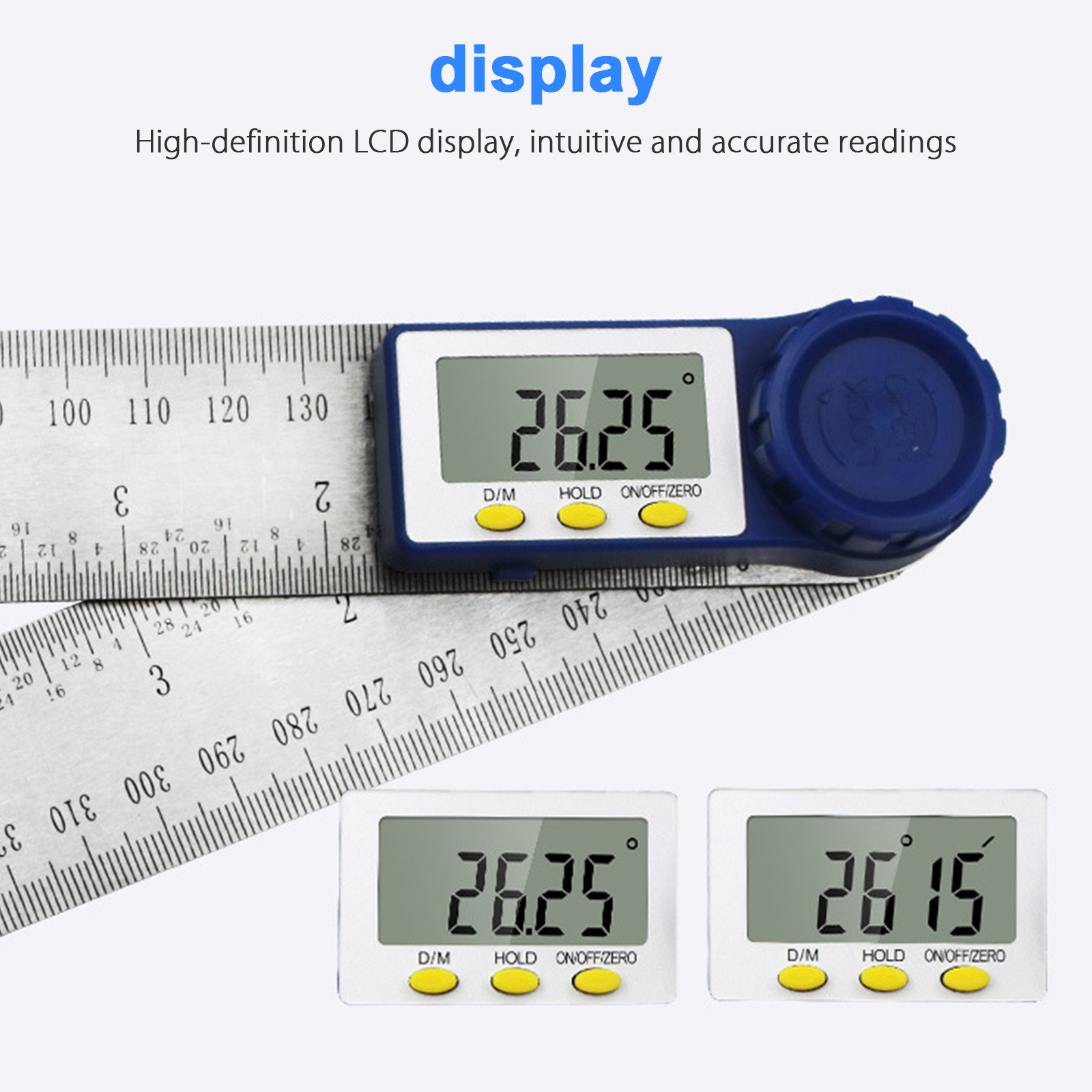 Digital Angle Finder Ruler 8-Inch Protractor 200mm Stainless Steel Angle Gauge
