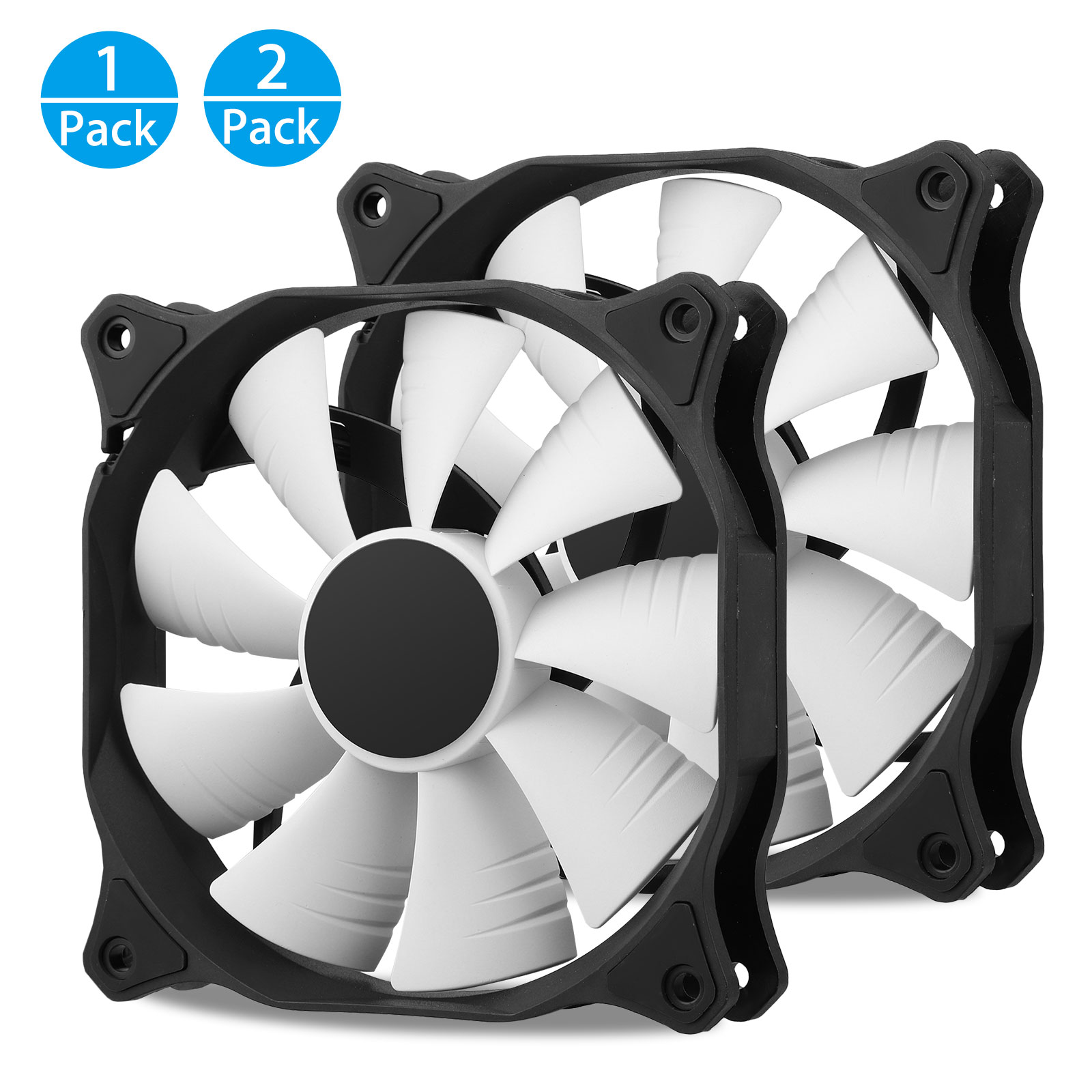 2pack 120mm 4 Pins 12V Cooling Case Fan for PC Desktop Computer Quiet CPU Cooler