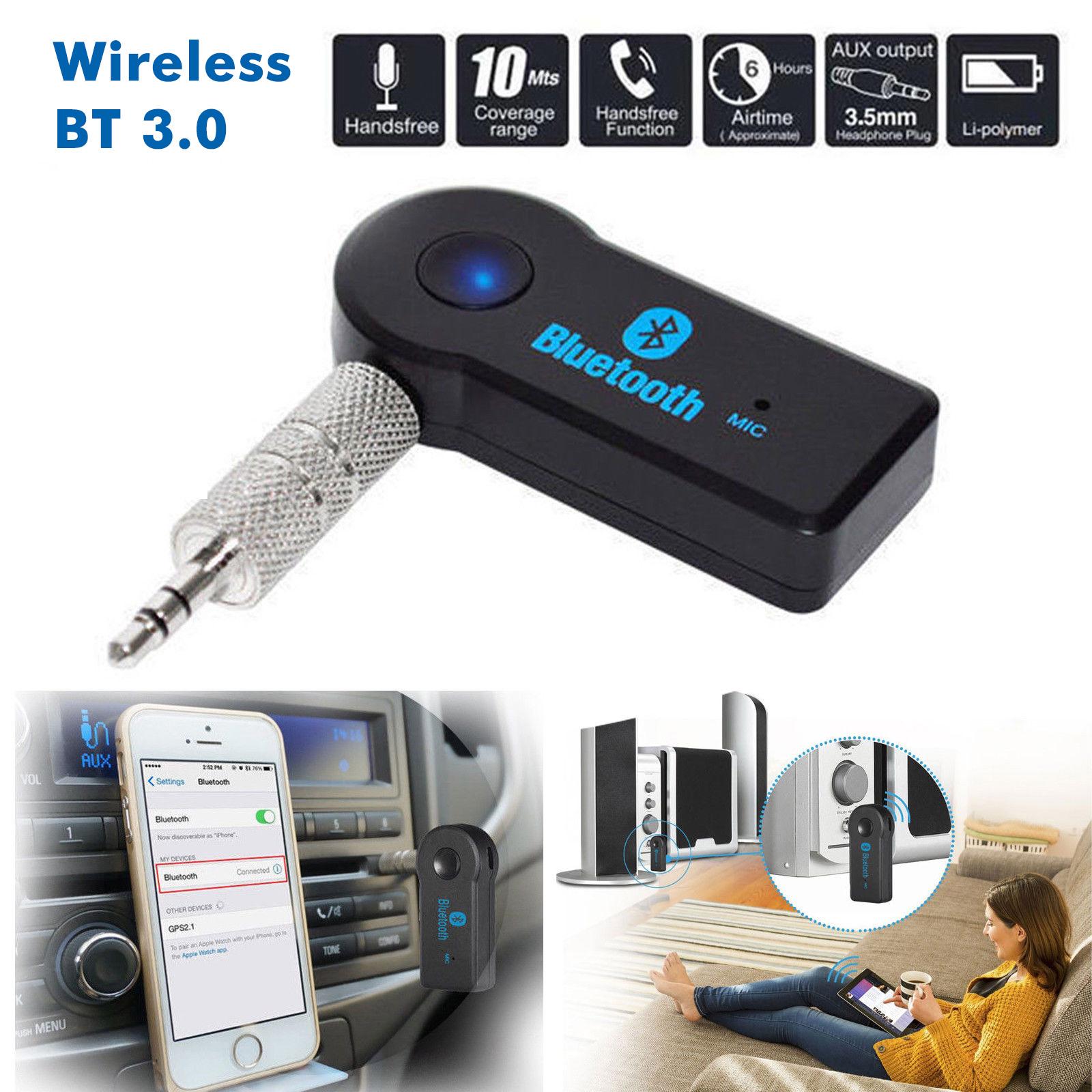 Mini Wireless Bluetooth Car Kit Hands free 3.5mm Jack AUX Audio Receiver Adapter