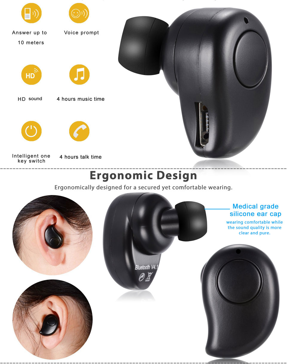 mini bluetooth 4 1 wireless in ear earbuds sport stereo. Black Bedroom Furniture Sets. Home Design Ideas