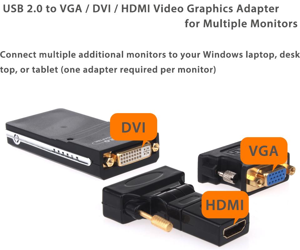 Usb 2 0 To Vga Adapter Mac Cable Hdmi Macbook Air Fnac Micro Sd Adapter Nedir Intex Adapter B Amazon: USB 2.0 To VGA DVI HDMI Video Graphics Adapter Converter