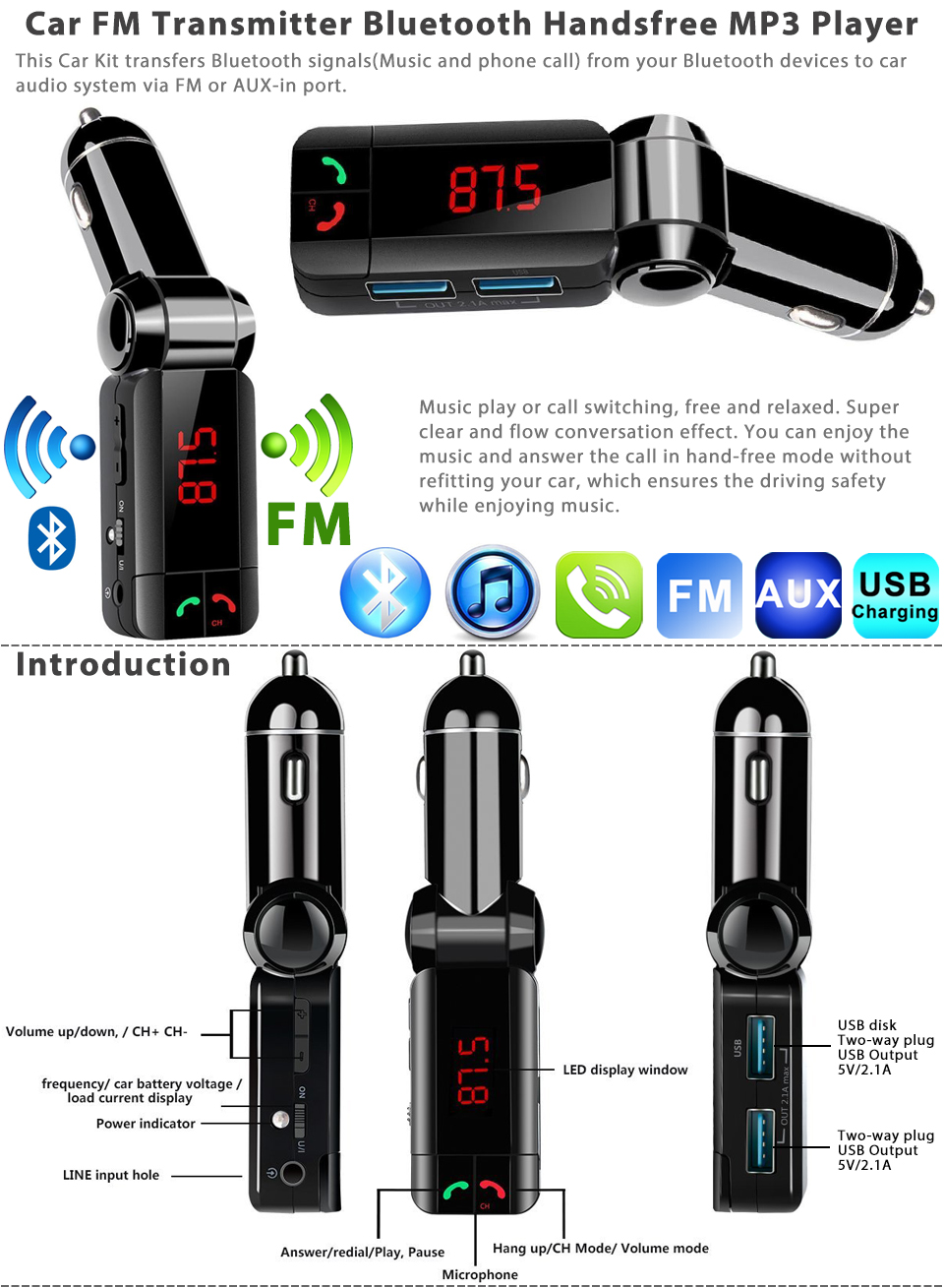 car fm transmitter kit bluetooth hands free radio adapter. Black Bedroom Furniture Sets. Home Design Ideas
