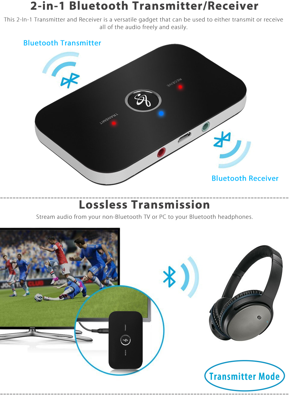 2 in 1 wireless bluetooth transmitter receiver a2dp stereo audio music adapter ebay. Black Bedroom Furniture Sets. Home Design Ideas