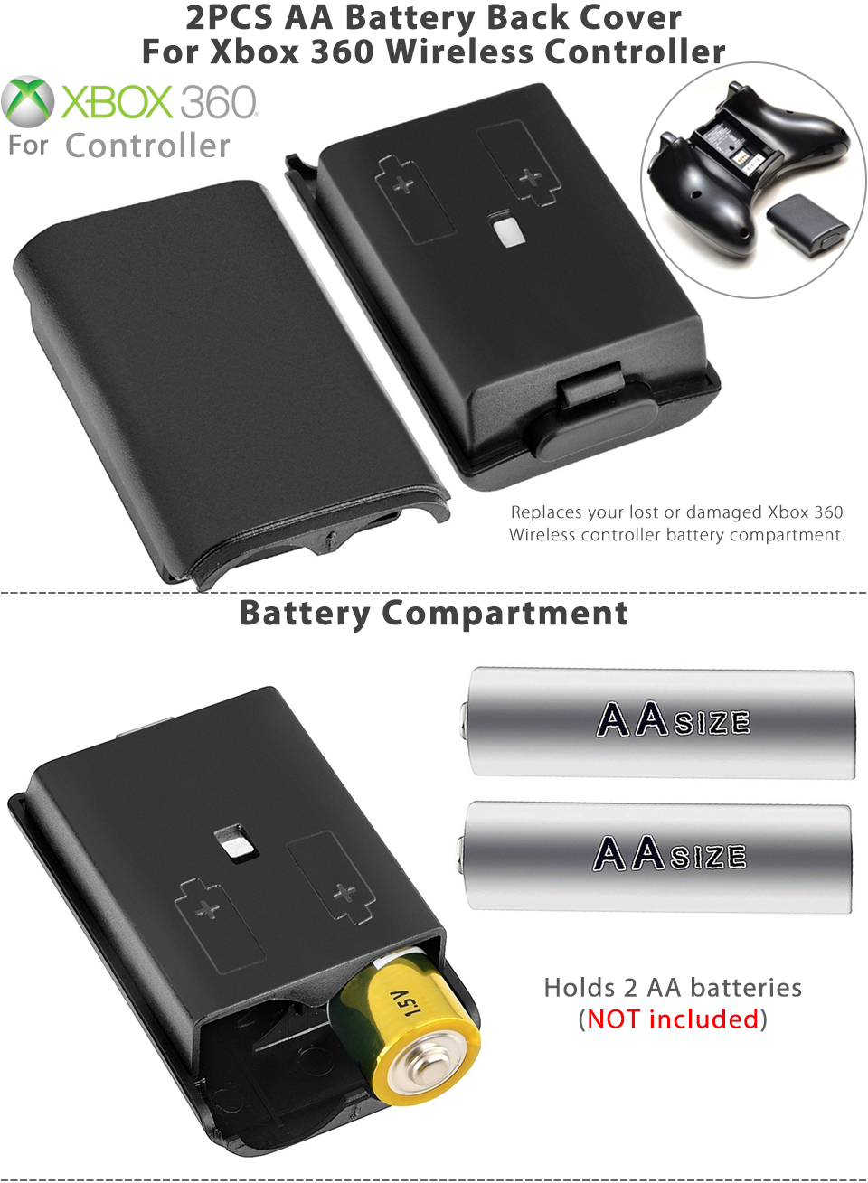 2pcs aa battery back cover case shell pack for xbox 360 wireless controller usa ebay. Black Bedroom Furniture Sets. Home Design Ideas