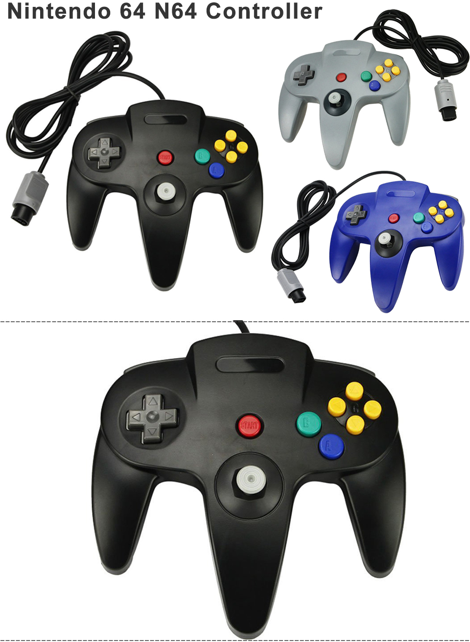 1PCS 2 PCS Long Handle Game Controller Pad Joystick For Nintendo 64 N64 System | eBay