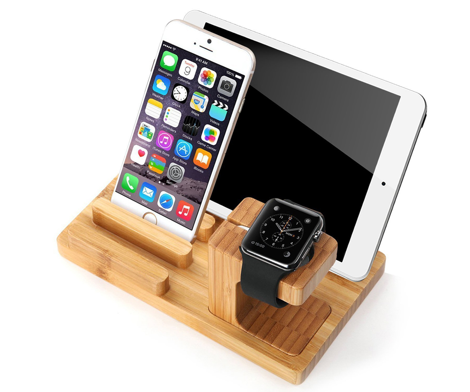 bamboo charger dock station stand holder for apple watch. Black Bedroom Furniture Sets. Home Design Ideas