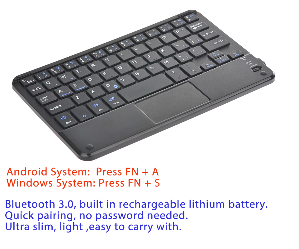 Android Bluetooth Keyboard Example: Wireless Bluetooth 3.0 Keyboard W/ Touchpad For 7-10 Inch Android Windows Tablet