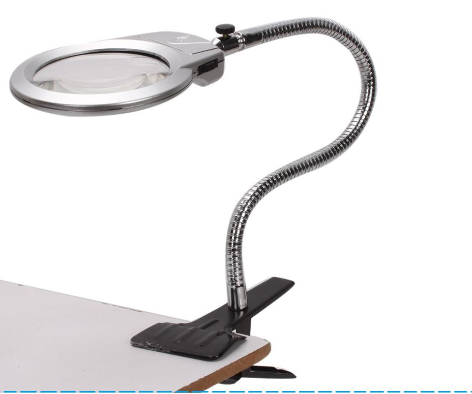 Large Lens Clip Lighted Desk Magnifier Magnifying Glass