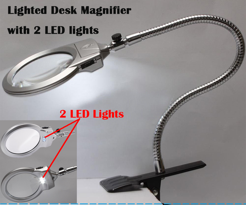 large lens clip lighted desk magnifier magnifying glass lamp led light. Black Bedroom Furniture Sets. Home Design Ideas