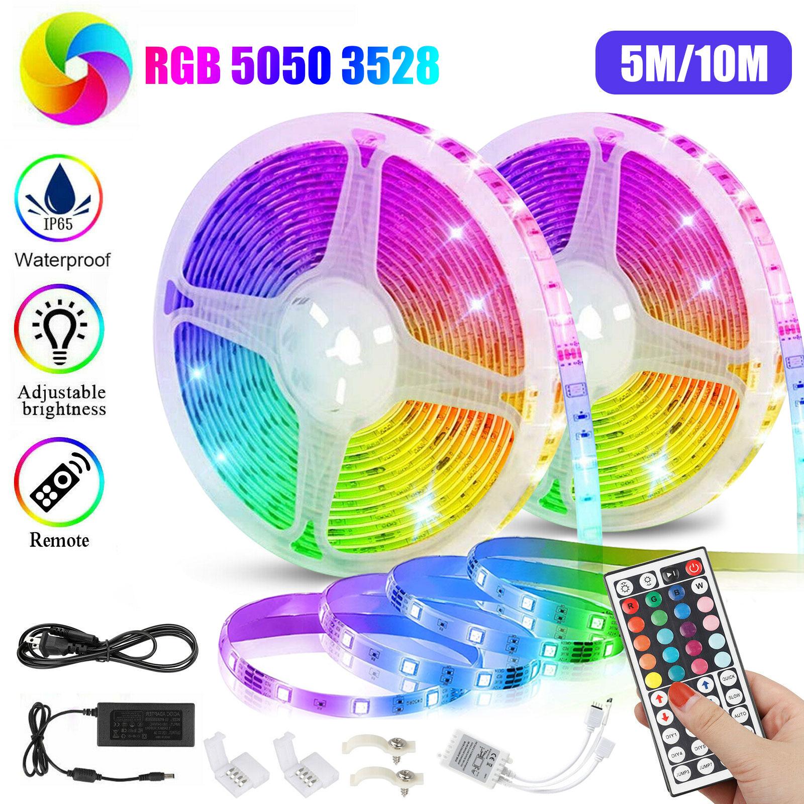 32.8FT RGB 5050 3528 SMD Waterproof 600 LED Strip Light+IR R