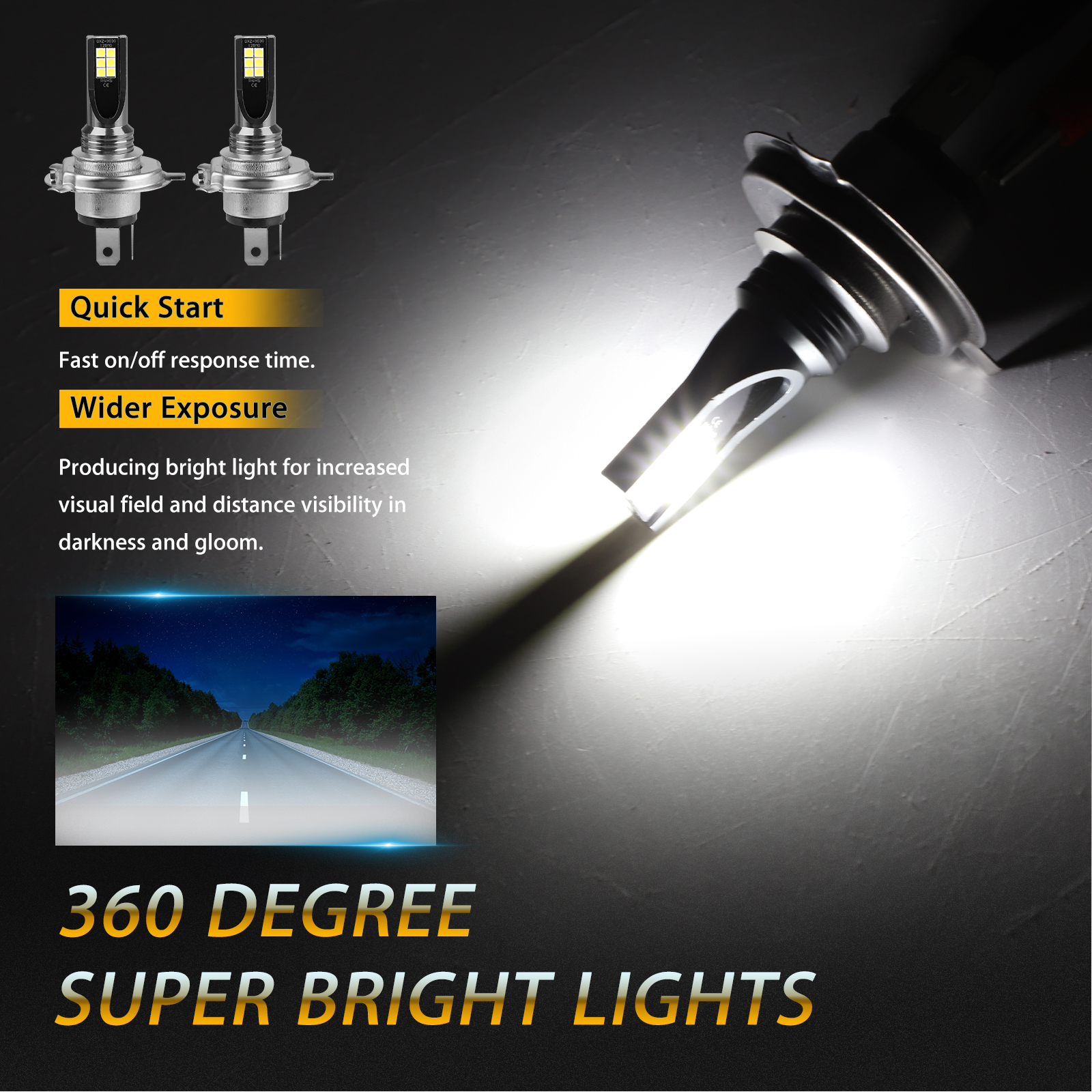 2X-H4-9003-LED-Headlight-Bulbs-Kit-High-Low-Beam-Super-Bright-100W-14000LM-6000K thumbnail 2