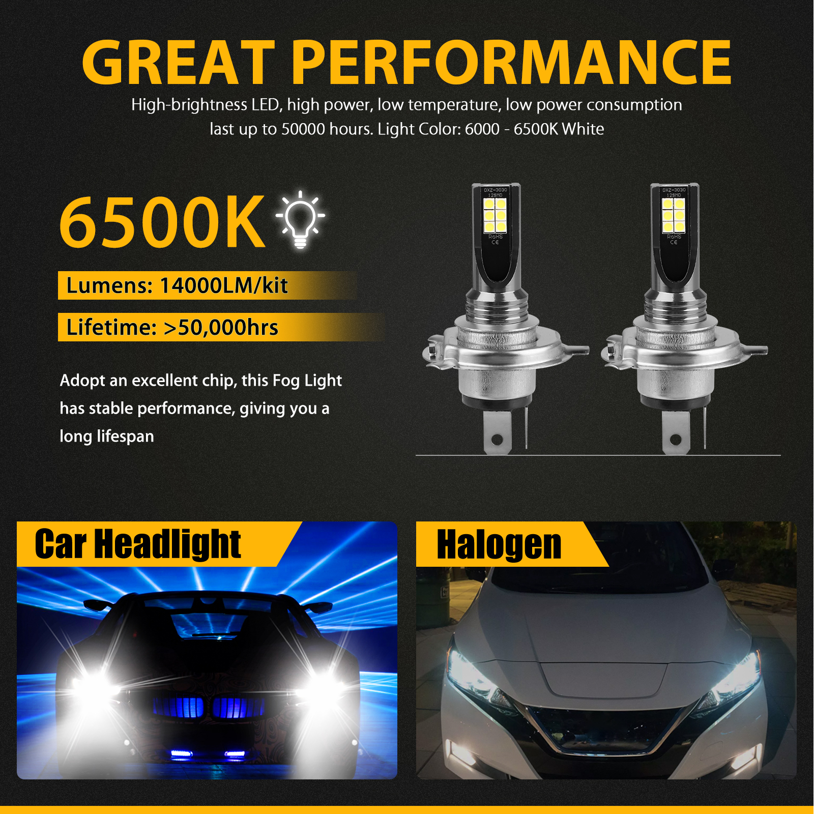 2X-H4-9003-LED-Headlight-Bulbs-Kit-High-Low-Beam-Super-Bright-100W-14000LM-6000K thumbnail 3