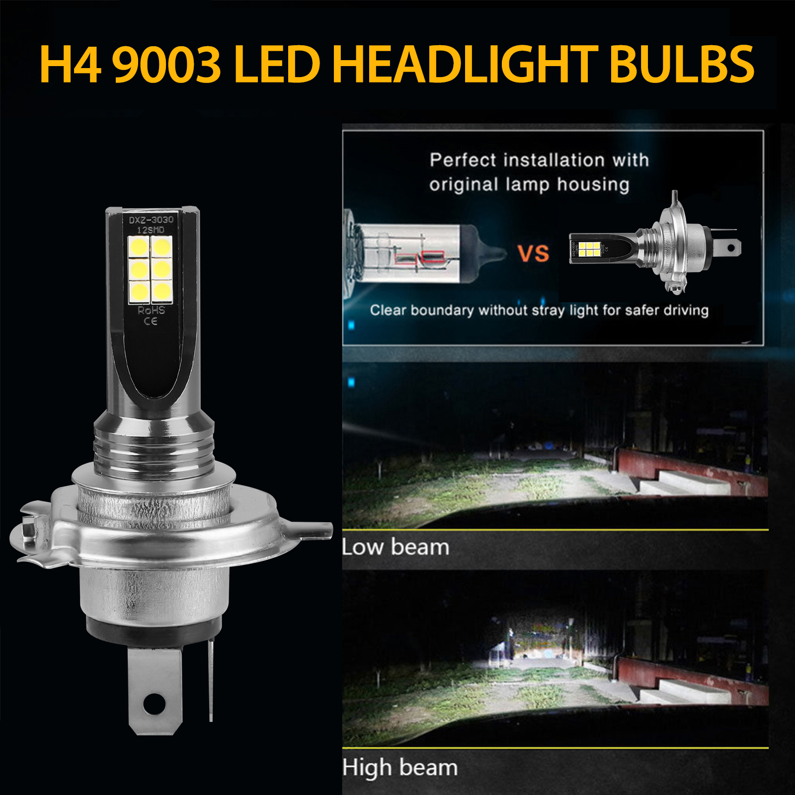 2X-H4-9003-LED-Headlight-Bulbs-Kit-High-Low-Beam-Super-Bright-100W-14000LM-6000K thumbnail 5