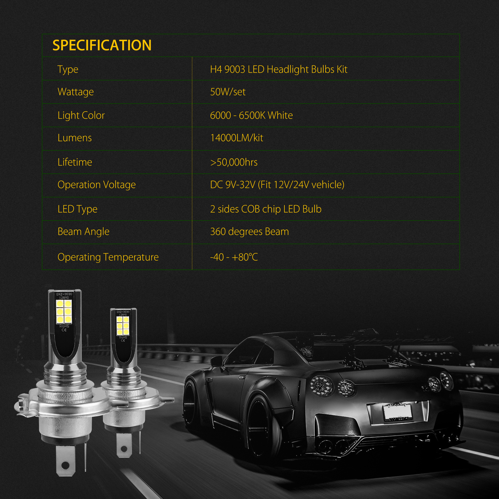 2X-H4-9003-LED-Headlight-Bulbs-Kit-High-Low-Beam-Super-Bright-100W-14000LM-6000K thumbnail 8