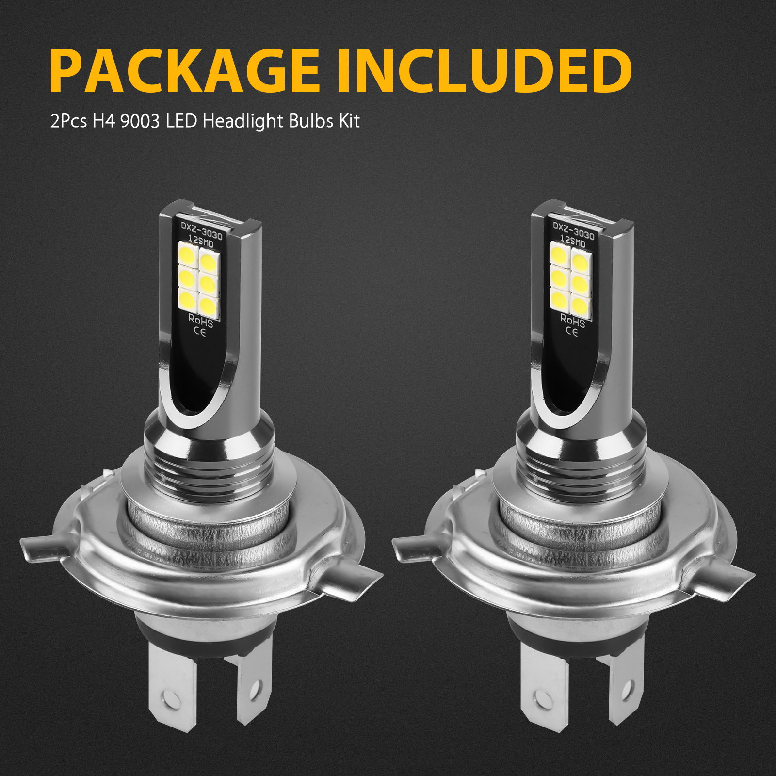 2X-H4-9003-LED-Headlight-Bulbs-Kit-High-Low-Beam-Super-Bright-100W-14000LM-6000K thumbnail 9