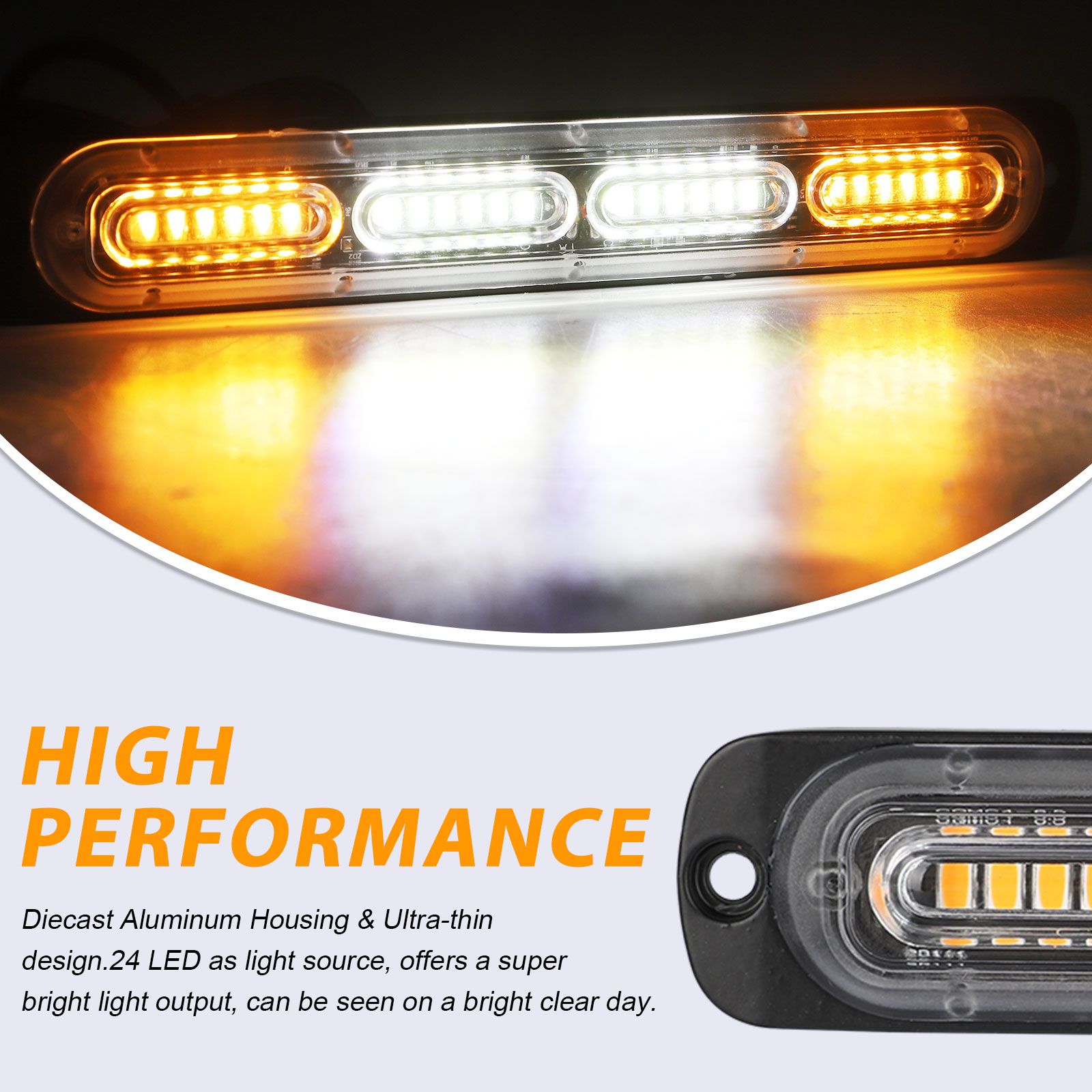 2PC-Amber-White-24LED-Car-Truck-Emergency-Warning-Hazard-Flash-Strobe-Light-Bar thumbnail 2