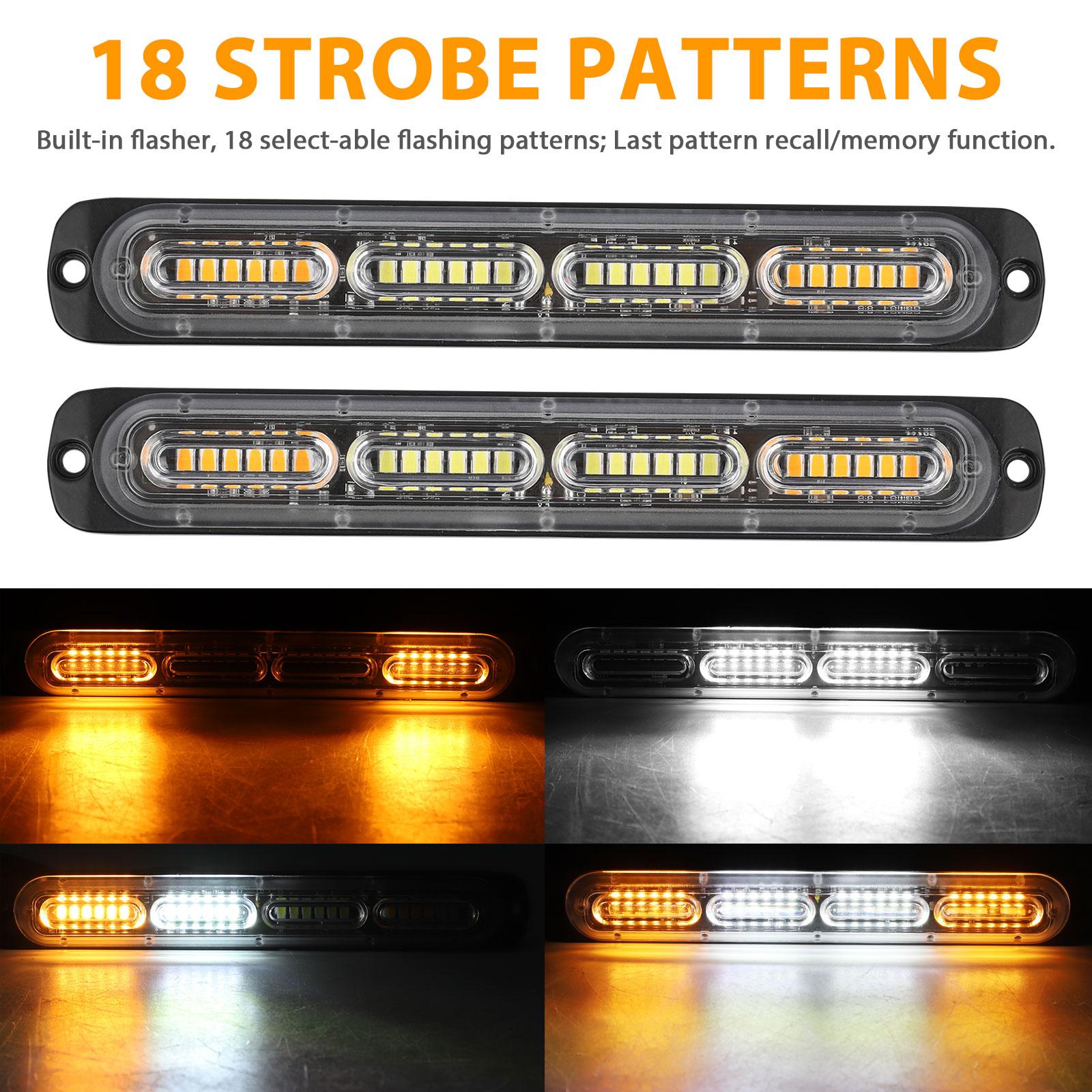 2PC-Amber-White-24LED-Car-Truck-Emergency-Warning-Hazard-Flash-Strobe-Light-Bar thumbnail 4