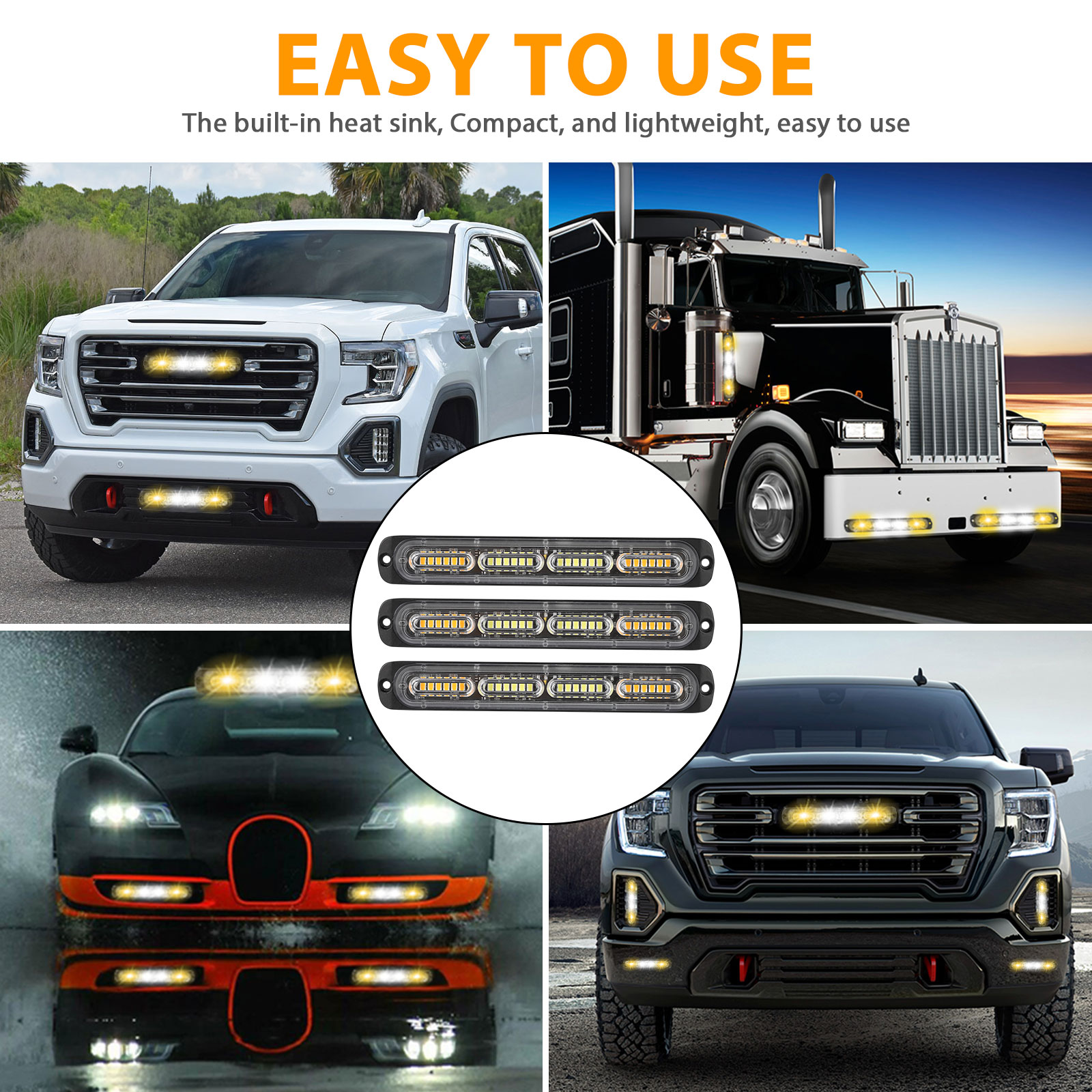 2PC-Amber-White-24LED-Car-Truck-Emergency-Warning-Hazard-Flash-Strobe-Light-Bar thumbnail 6