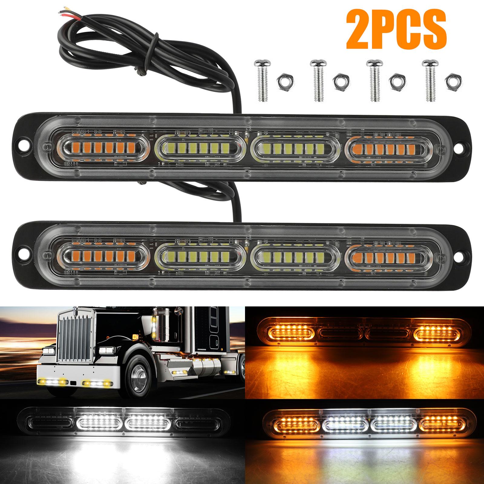 2PC-Amber-White-24LED-Car-Truck-Emergency-Warning-Hazard-Flash-Strobe-Light-Bar