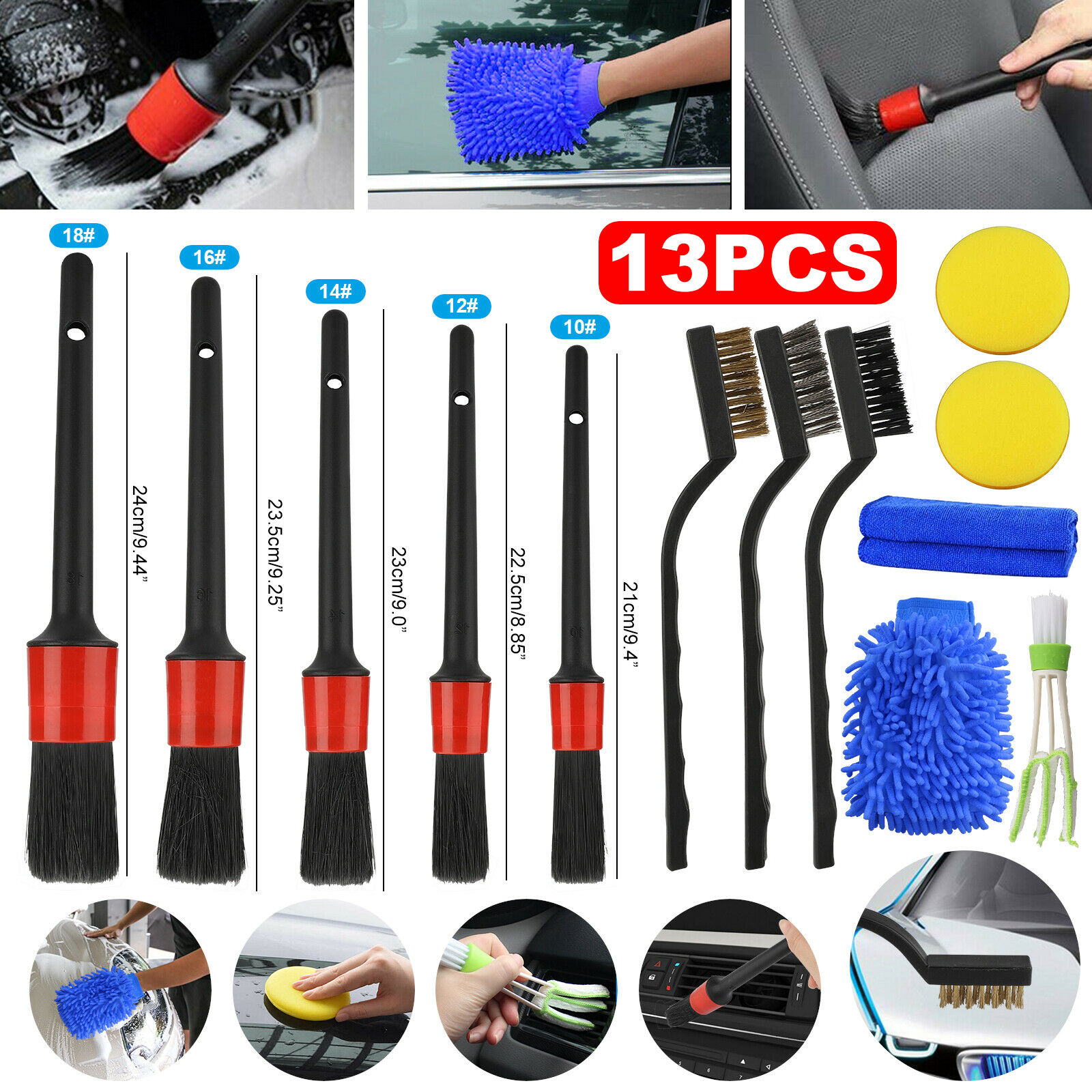 thumbnail 13 - 13/9/5pcs Car Detail Brush Wash Auto Detailing Cleaning Kit Engine Wheel Brushes