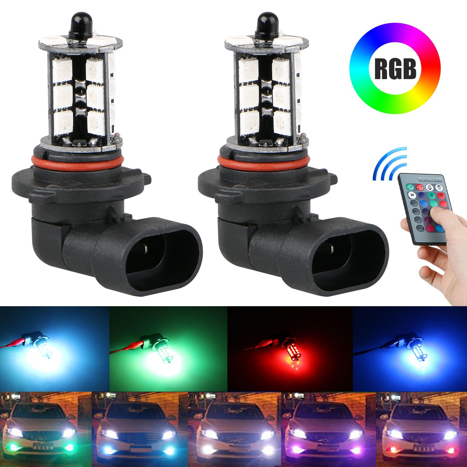 2x 9006 LED 27-SMD 5050 RGB Car Headlight Fog Light Lamp Bul