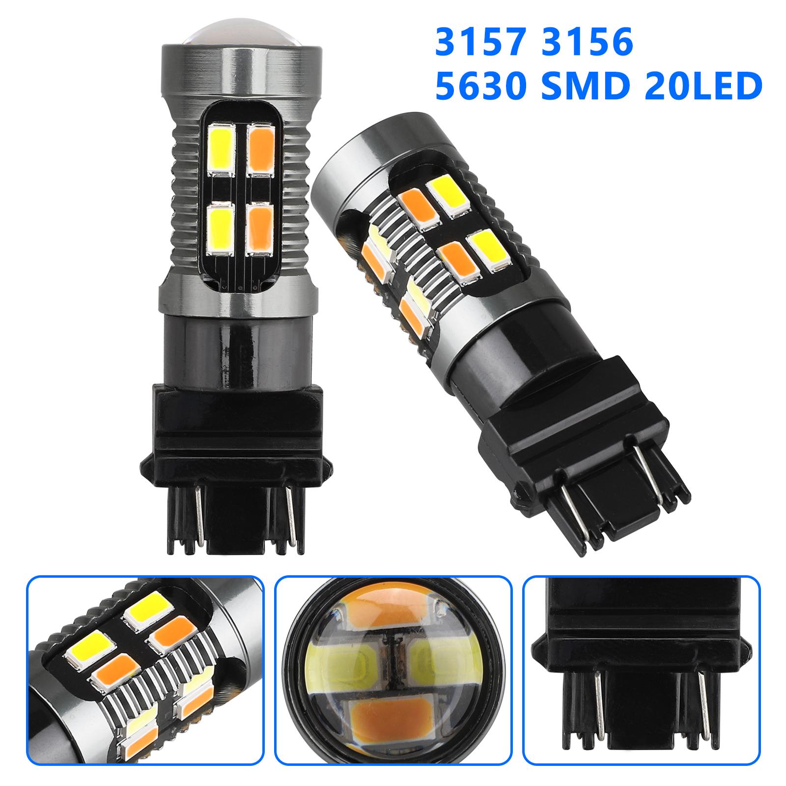 2X-3157-Switchback-LED-Turn-Signal-Light-4157na-3457a-LED-Bulbs-3156-White-Amber thumbnail 3