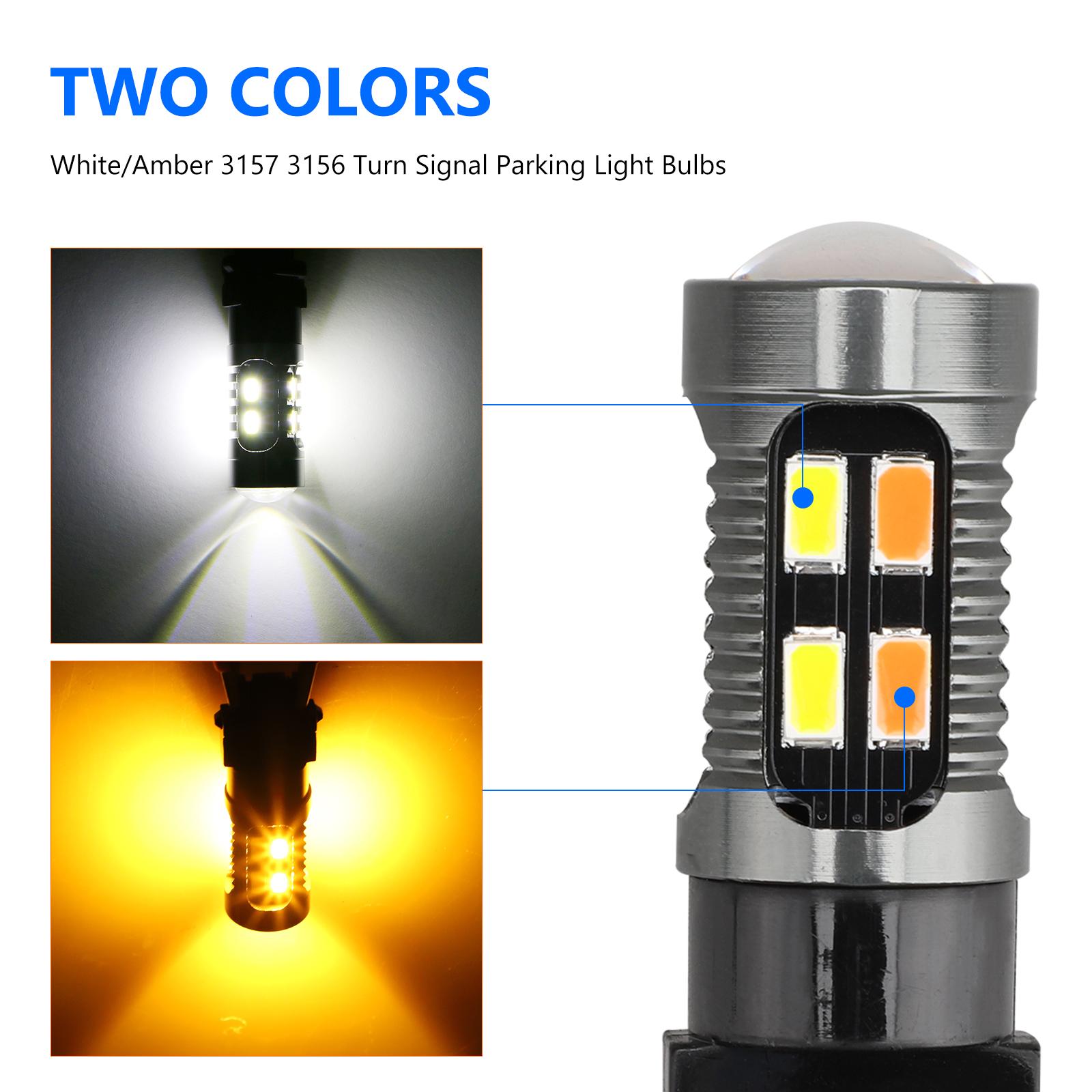2X-3157-Switchback-LED-Turn-Signal-Light-4157na-3457a-LED-Bulbs-3156-White-Amber thumbnail 4
