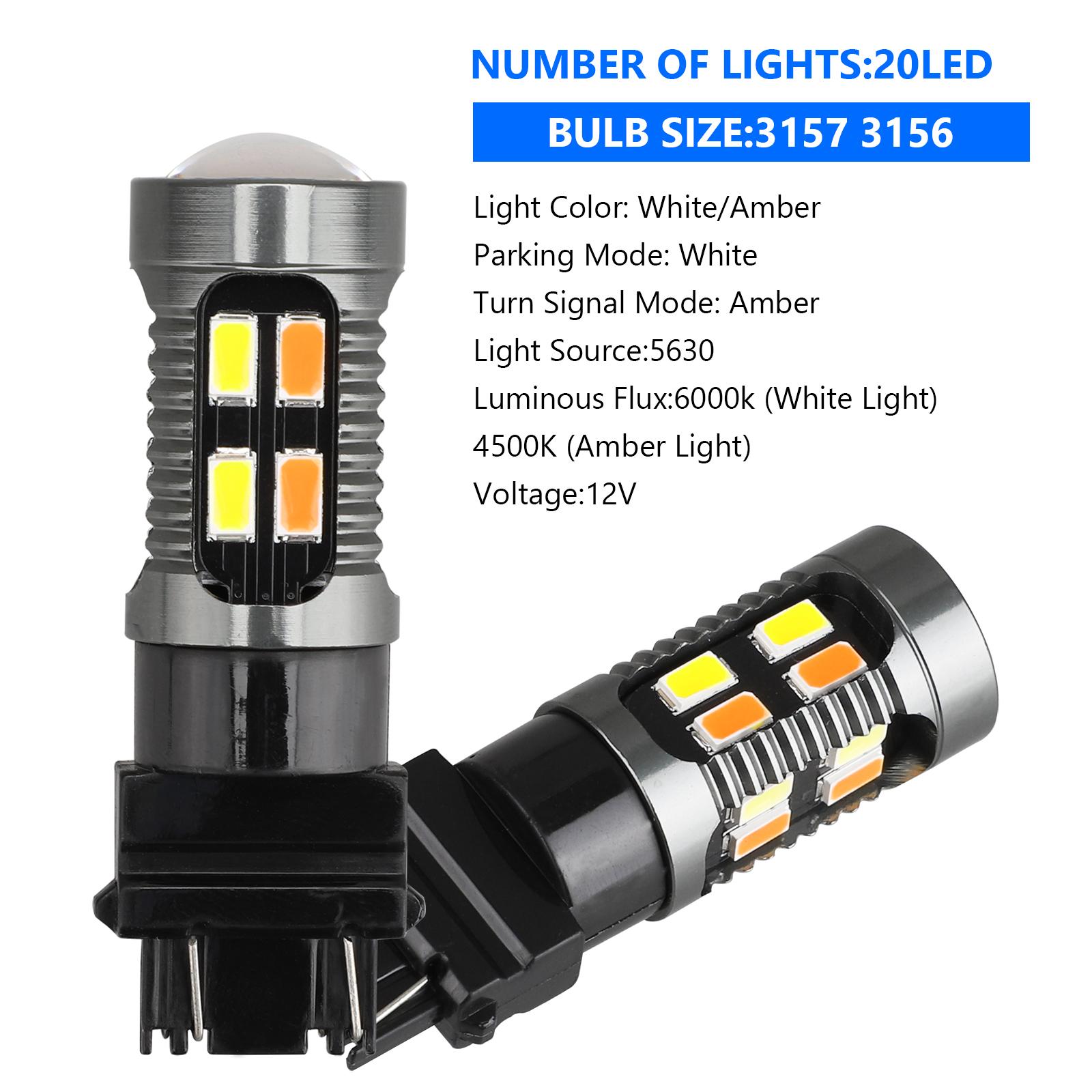 2X-3157-Switchback-LED-Turn-Signal-Light-4157na-3457a-LED-Bulbs-3156-White-Amber thumbnail 5