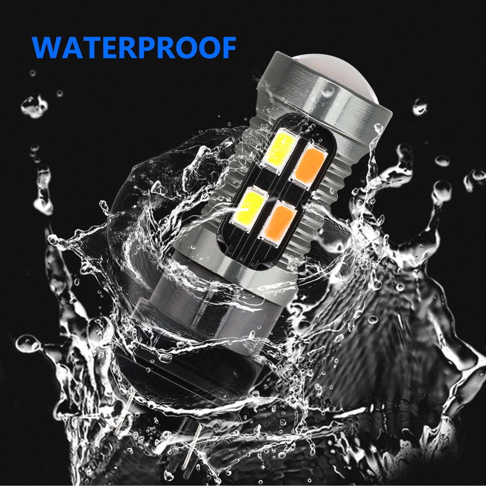 2X-3157-Switchback-LED-Turn-Signal-Light-4157na-3457a-LED-Bulbs-3156-White-Amber thumbnail 6