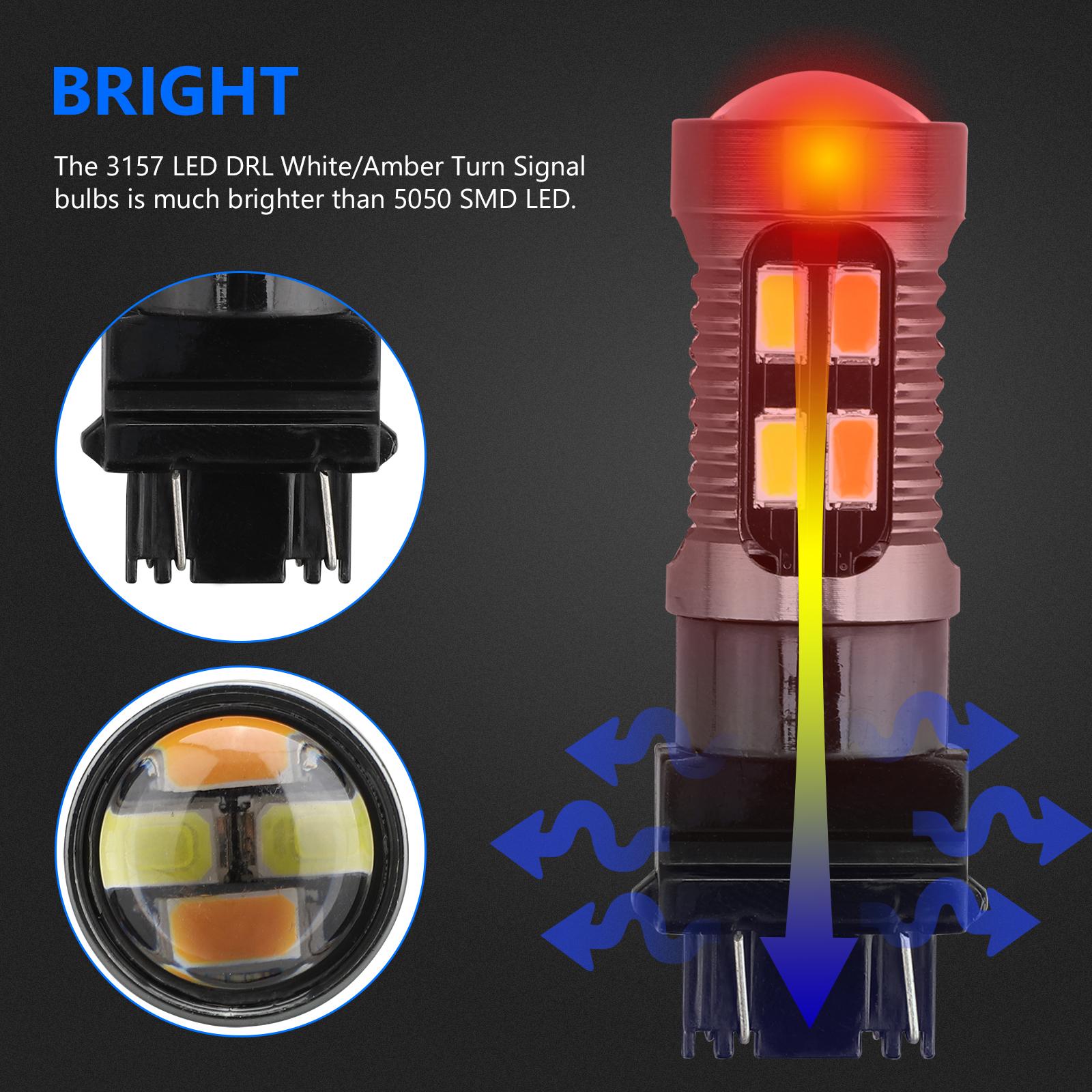 2X-3157-Switchback-LED-Turn-Signal-Light-4157na-3457a-LED-Bulbs-3156-White-Amber thumbnail 7