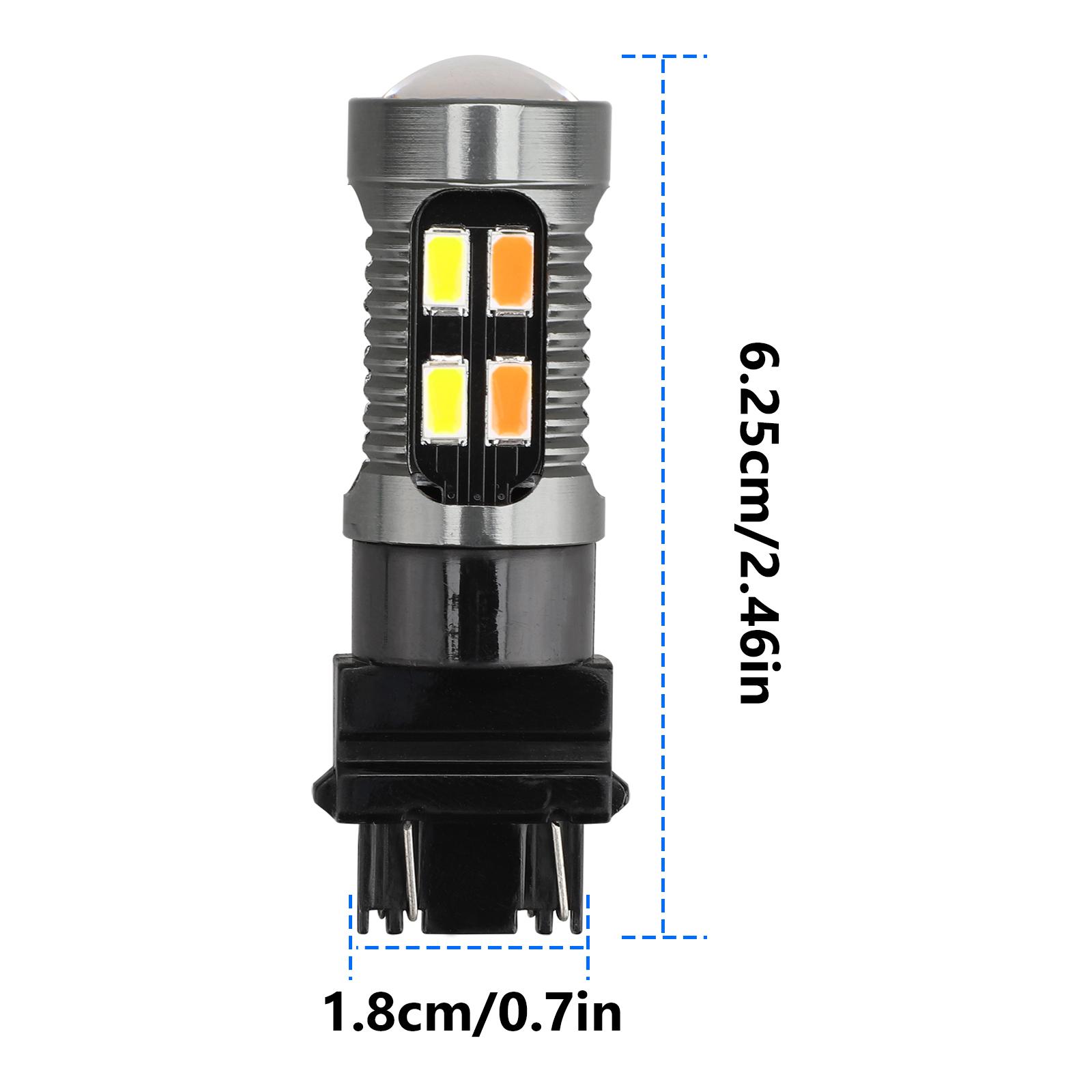2X-3157-Switchback-LED-Turn-Signal-Light-4157na-3457a-LED-Bulbs-3156-White-Amber thumbnail 8