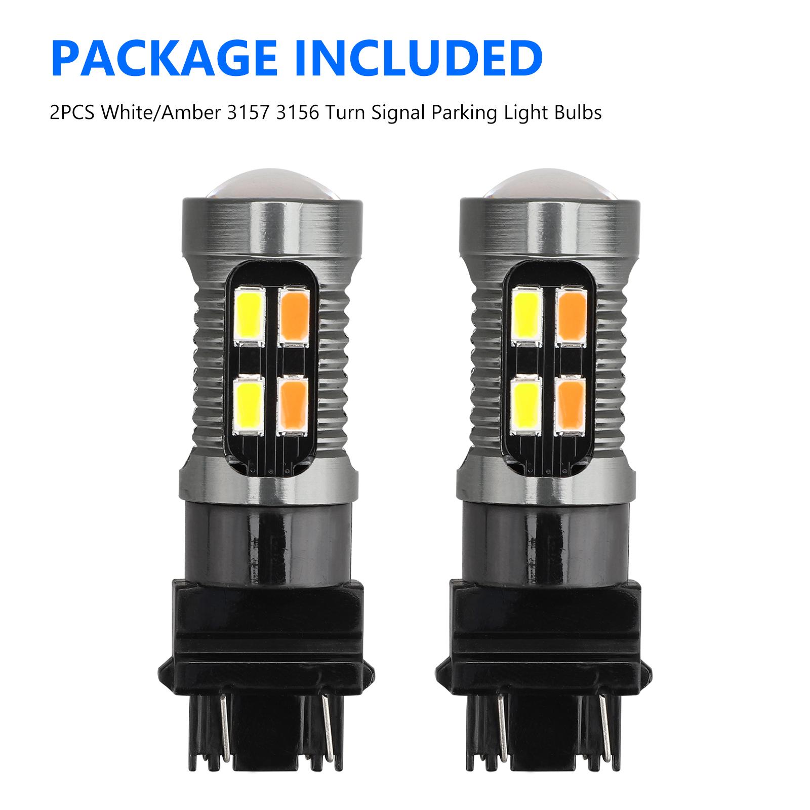 2X-3157-Switchback-LED-Turn-Signal-Light-4157na-3457a-LED-Bulbs-3156-White-Amber thumbnail 9