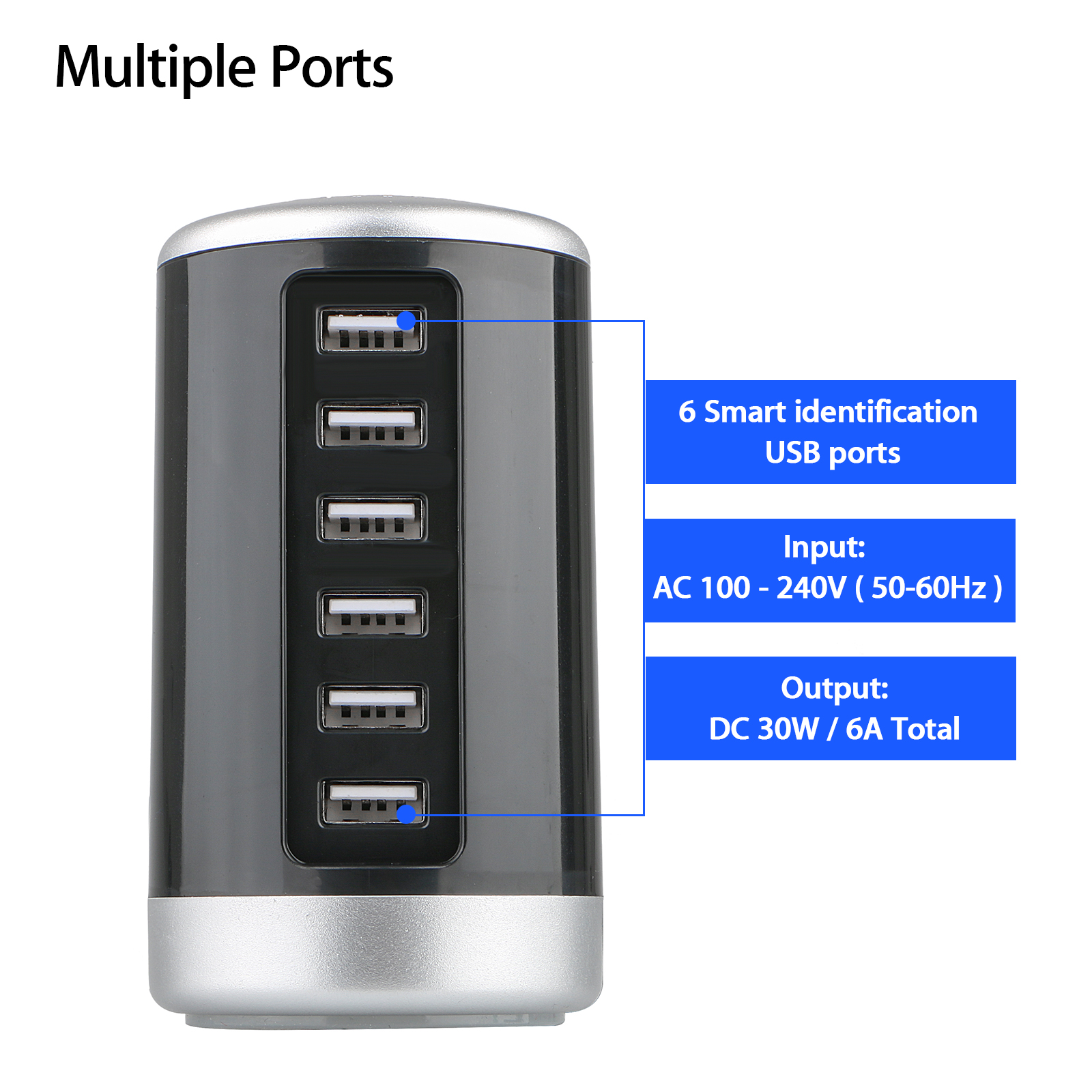 30W-Multi-6-Port-USB-Charger-Rapid-Charging-Station-Desktop-Travel-Hub-Adapter
