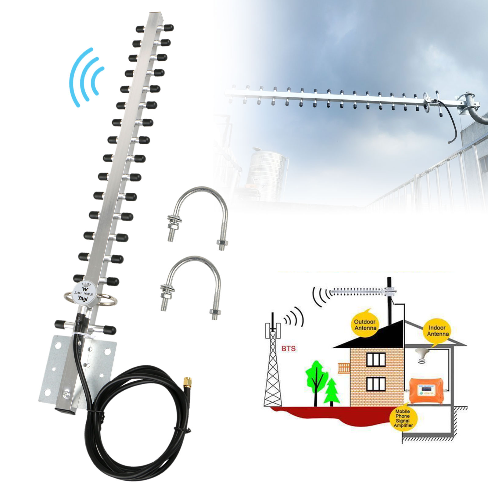 2.4GHz 25DBI Yagi Wireless RP-SMA WiFi Antenna For 1/4 inch