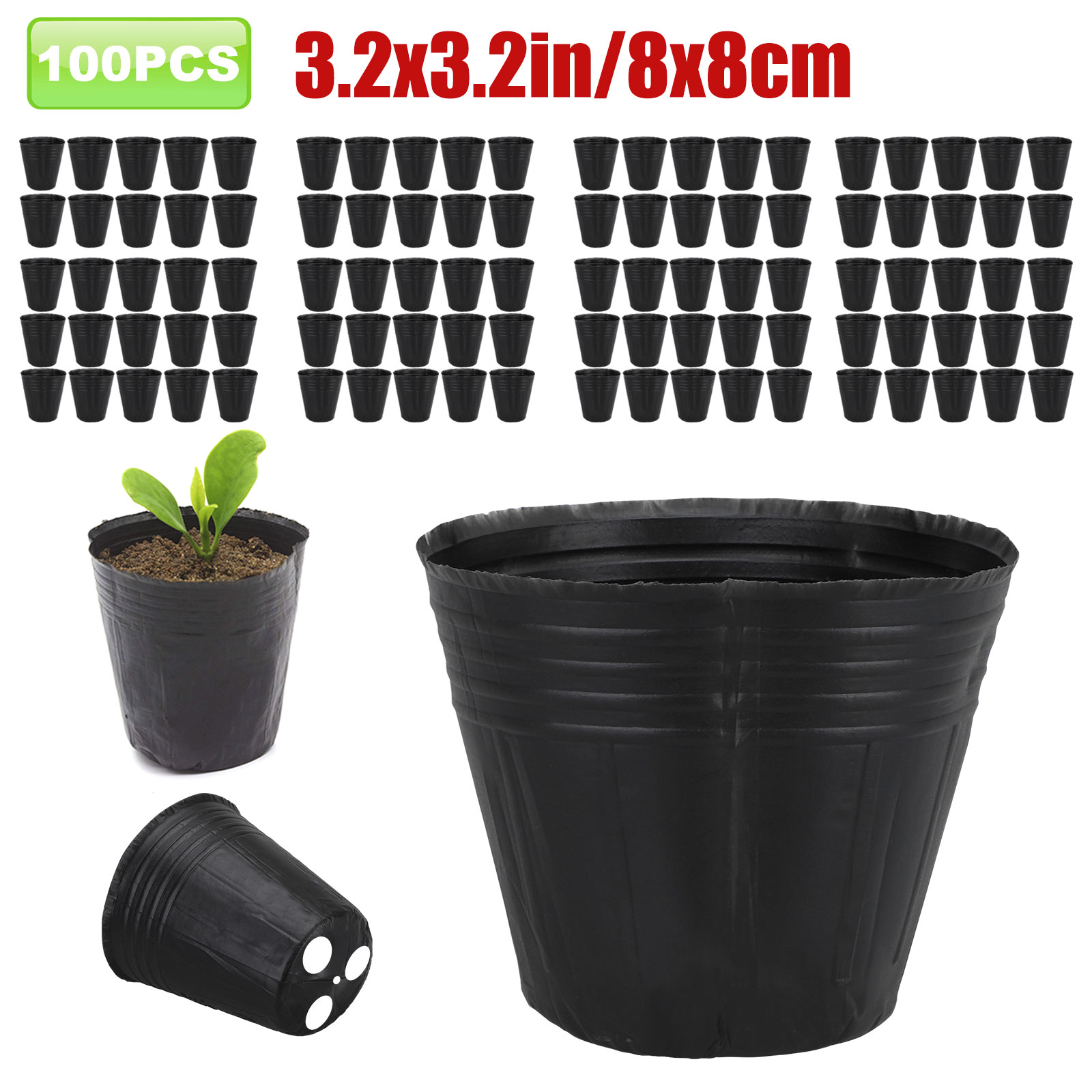 100PCS-Plant-Flower-Pots-Outdoor-Living-Garden-Nursery-Seedlings-Pot-Container thumbnail 11