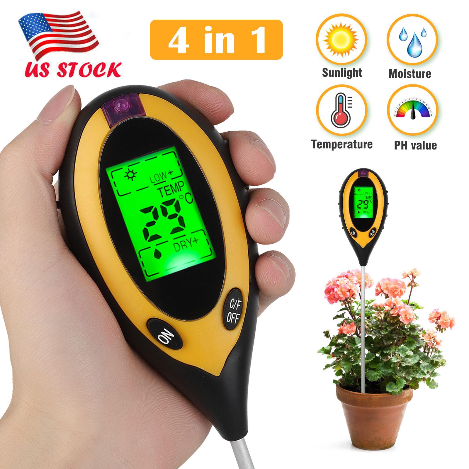 4 in 1 LCD Digital PH Meter Tester Soil Moisture Temperature