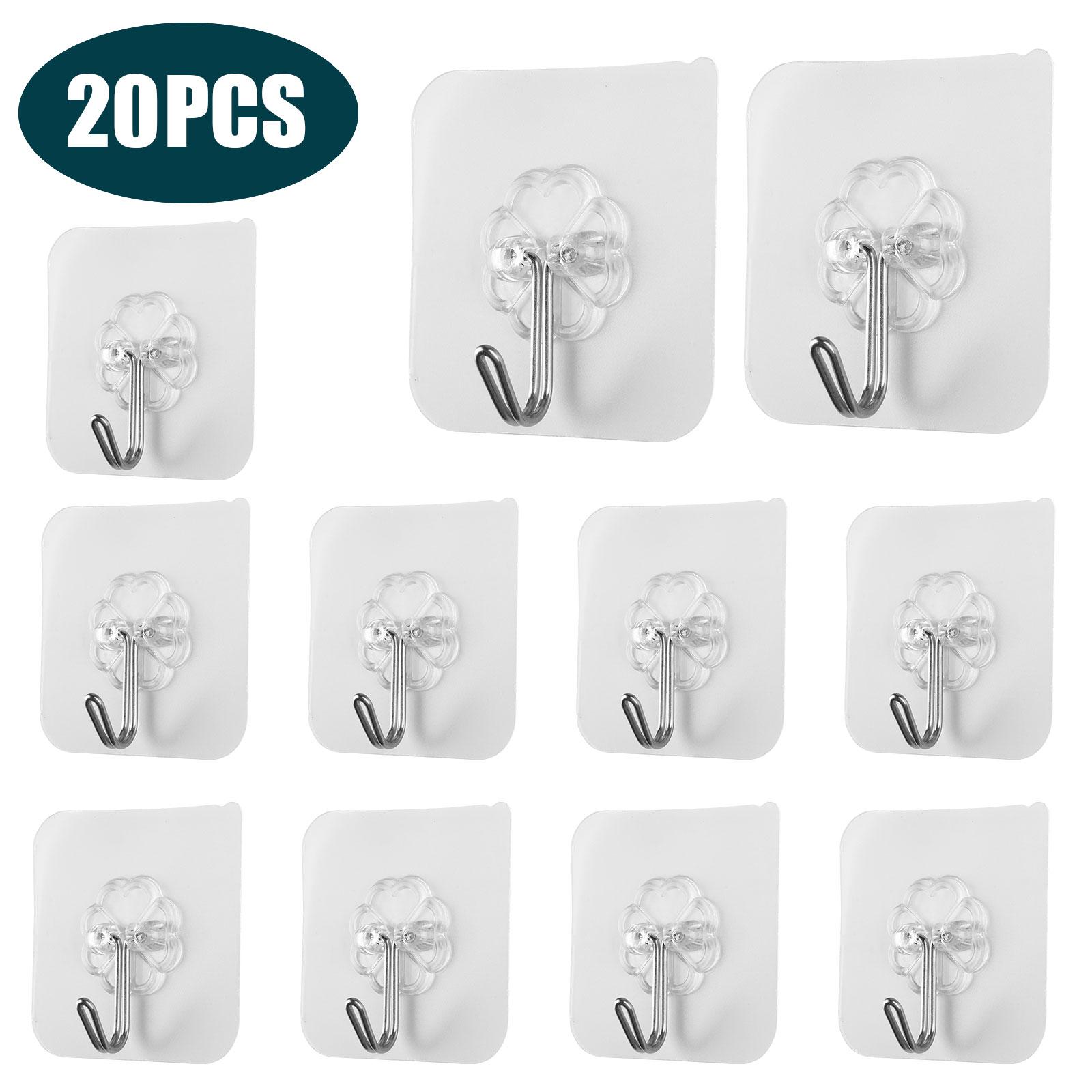 20-40x-Adhesive-Sticky-Hooks-Heavy-Duty-Wall-Seamless-Hooks-Hangers-Transparent thumbnail 10