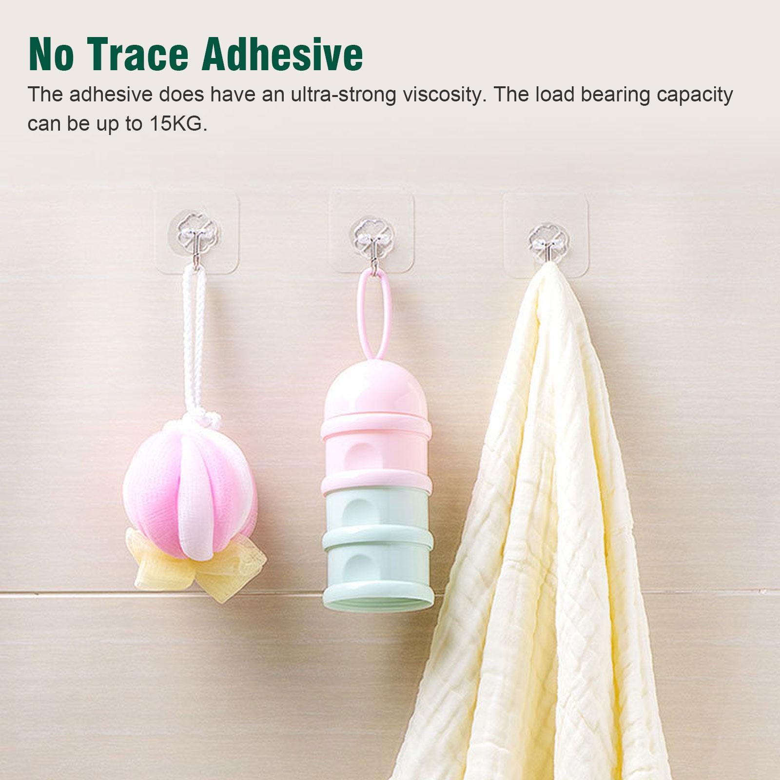 20-40x-Adhesive-Sticky-Hooks-Heavy-Duty-Wall-Seamless-Hooks-Hangers-Transparent thumbnail 2