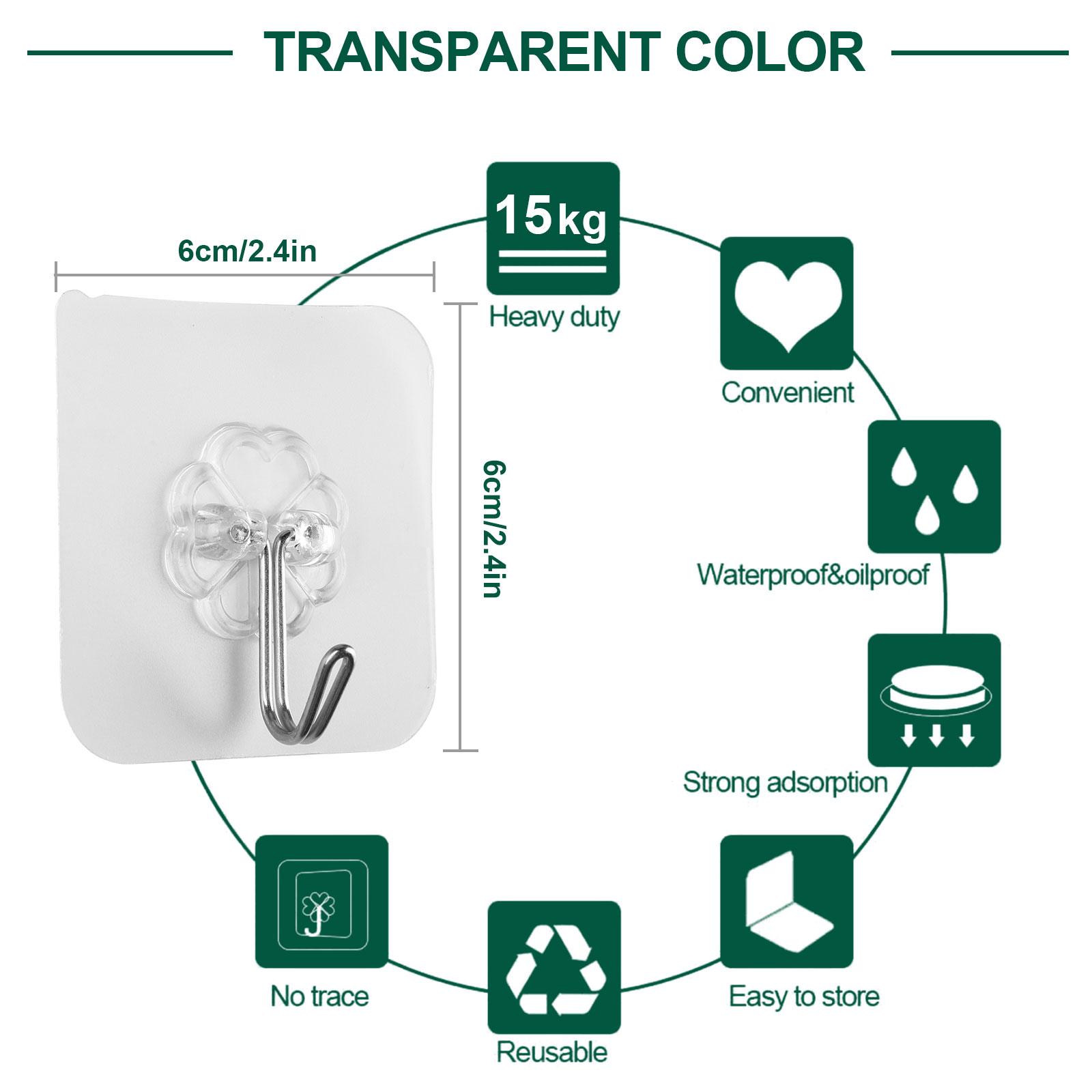 20-40x-Adhesive-Sticky-Hooks-Heavy-Duty-Wall-Seamless-Hooks-Hangers-Transparent thumbnail 3