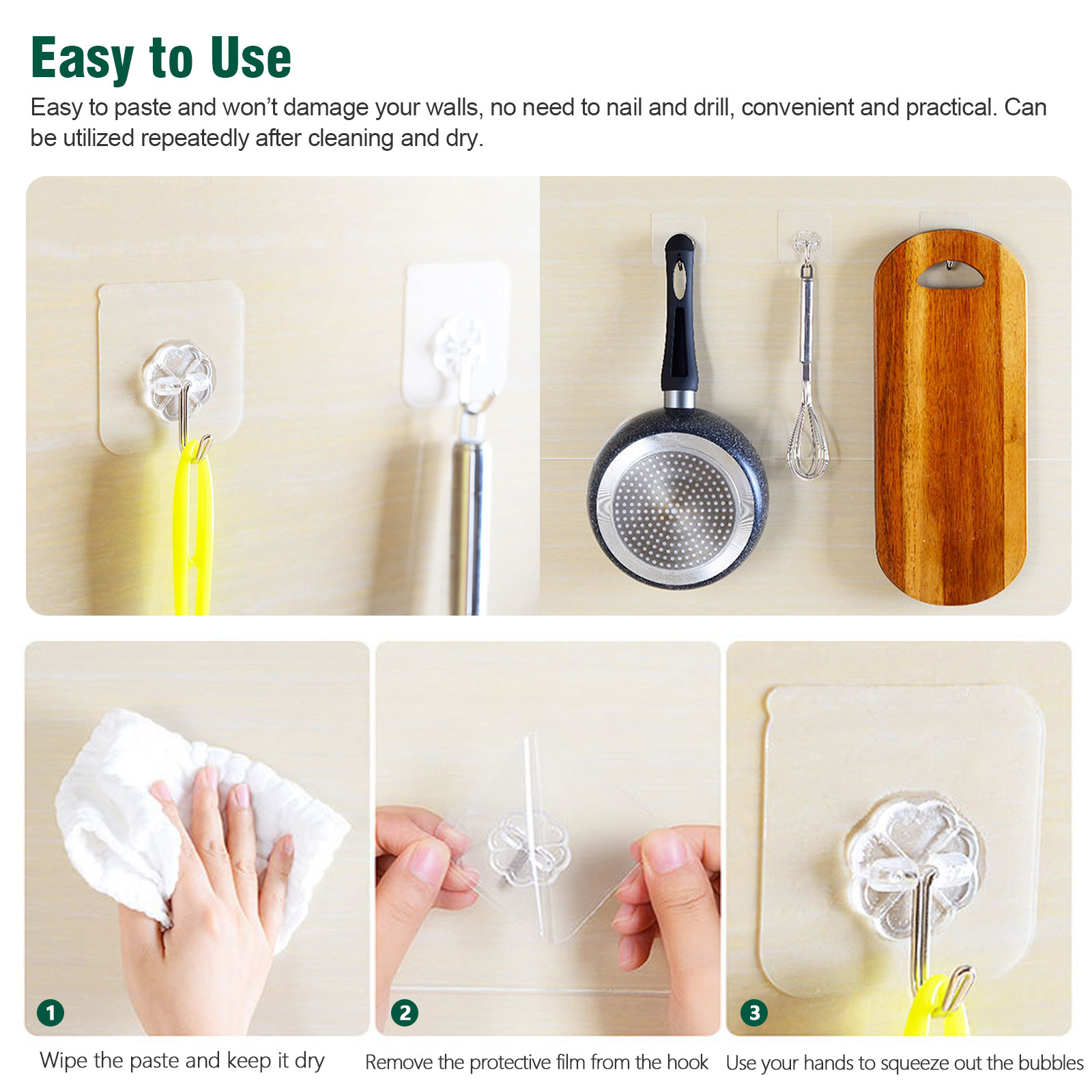 20-40x-Adhesive-Sticky-Hooks-Heavy-Duty-Wall-Seamless-Hooks-Hangers-Transparent thumbnail 6