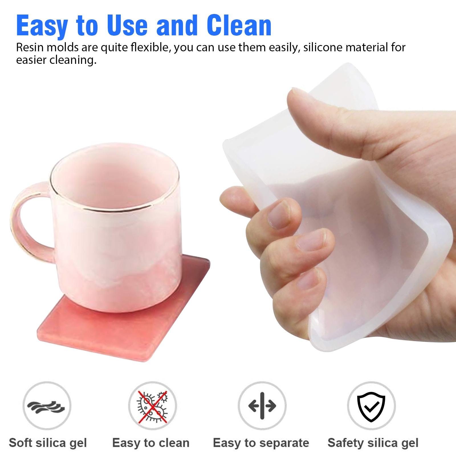 Silicone-Resin-Molds-Epoxy-Casting-Art-Coaster-Ashtray-Bowl-Mat-DIY-Craft-Tool thumbnail 7