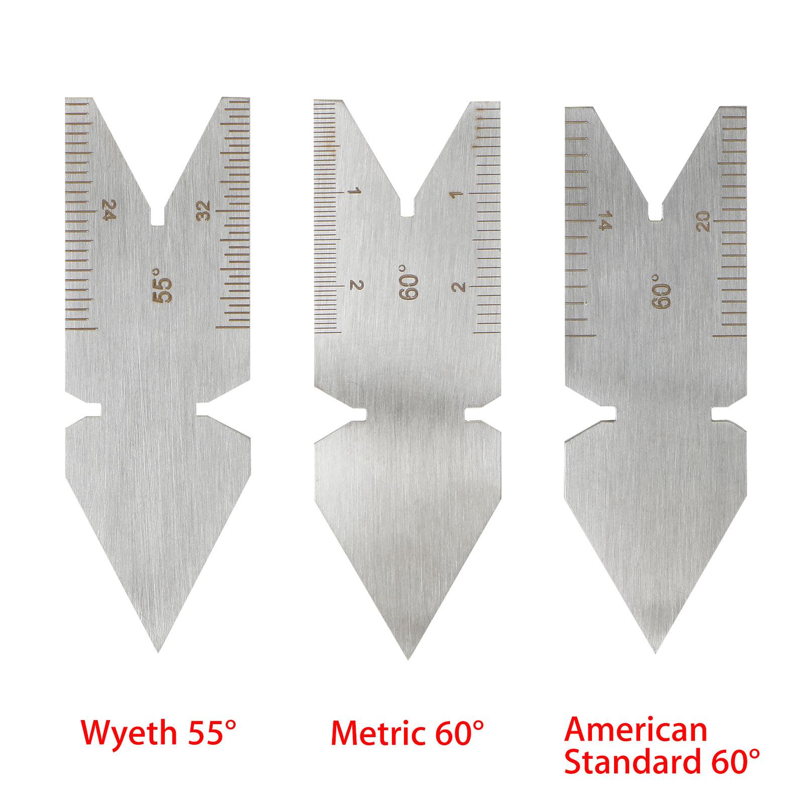 Silver Screw Thread Pitch Cutting Gauge Centering 55° Wyeth /& 60° Metric Gauge