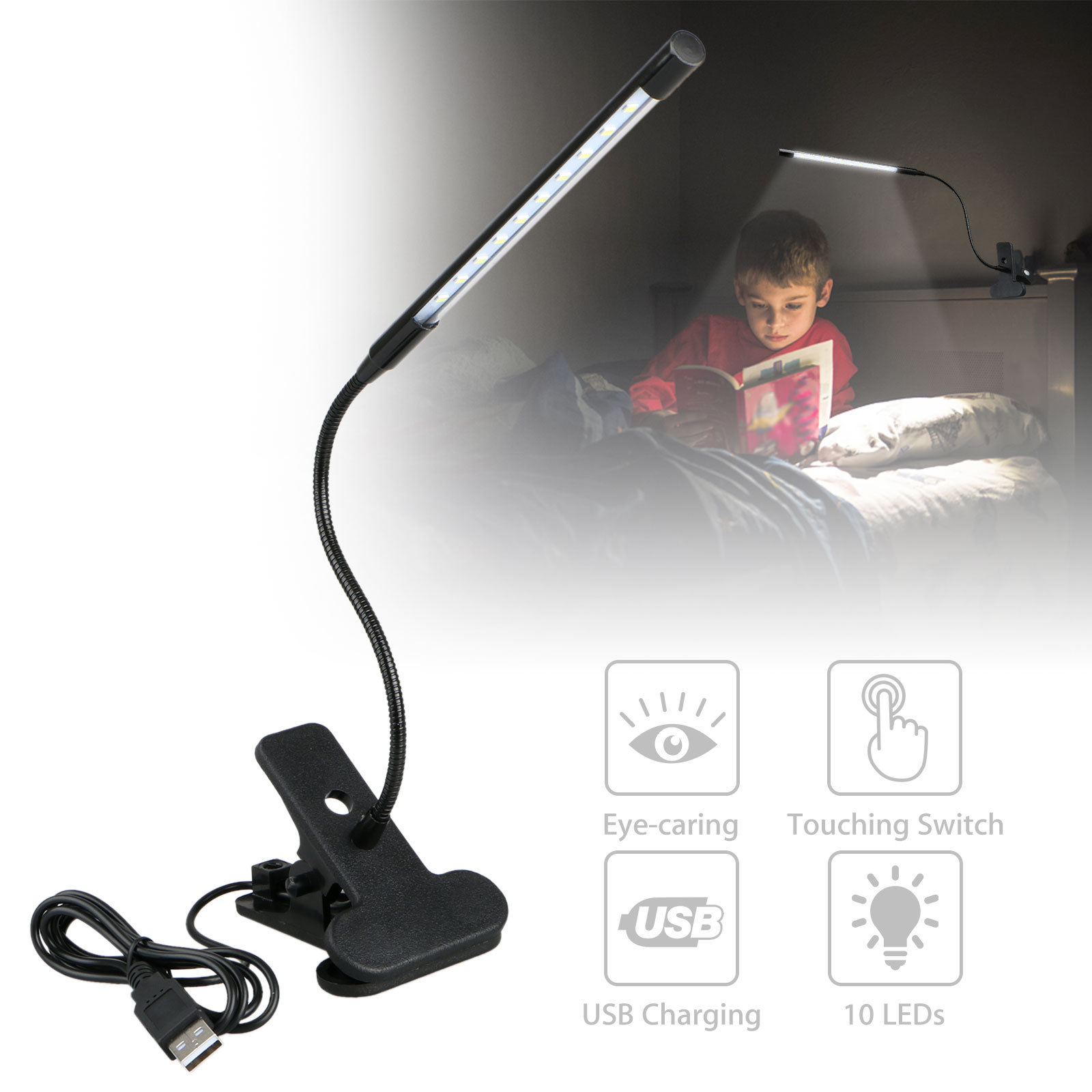 Adjustable-USB-Rechargeable-LED-Reading-Light-Clip-on-Clamp-Bed-Table-Desk-Lamp