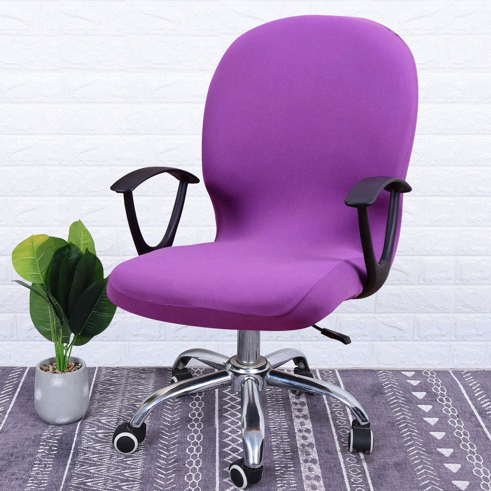 Swivel-Computer-Chair-Cover-Stretch-Remove-Office-Armchair-Slipcover-Seat-Cover thumbnail 2