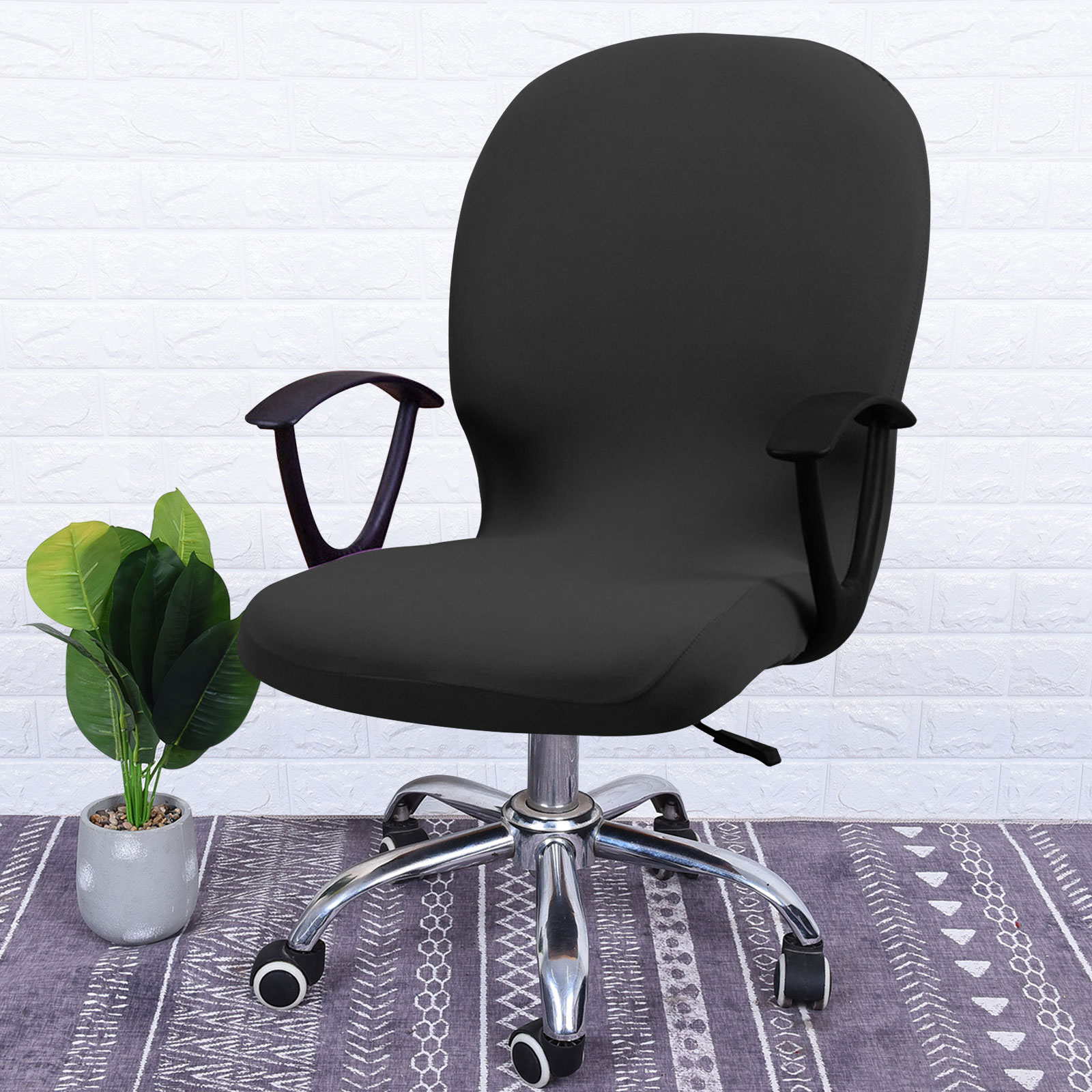 Swivel-Computer-Chair-Cover-Stretch-Remove-Office-Armchair-Slipcover-Seat-Cover thumbnail 4