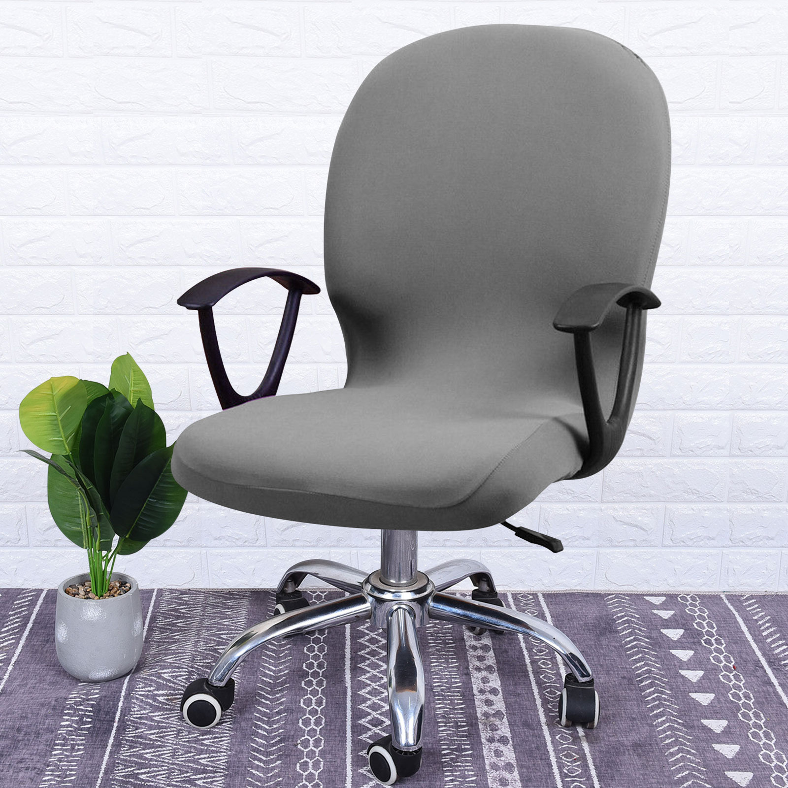 Swivel-Computer-Chair-Cover-Stretch-Remove-Office-Armchair-Slipcover-Seat-Cover thumbnail 5