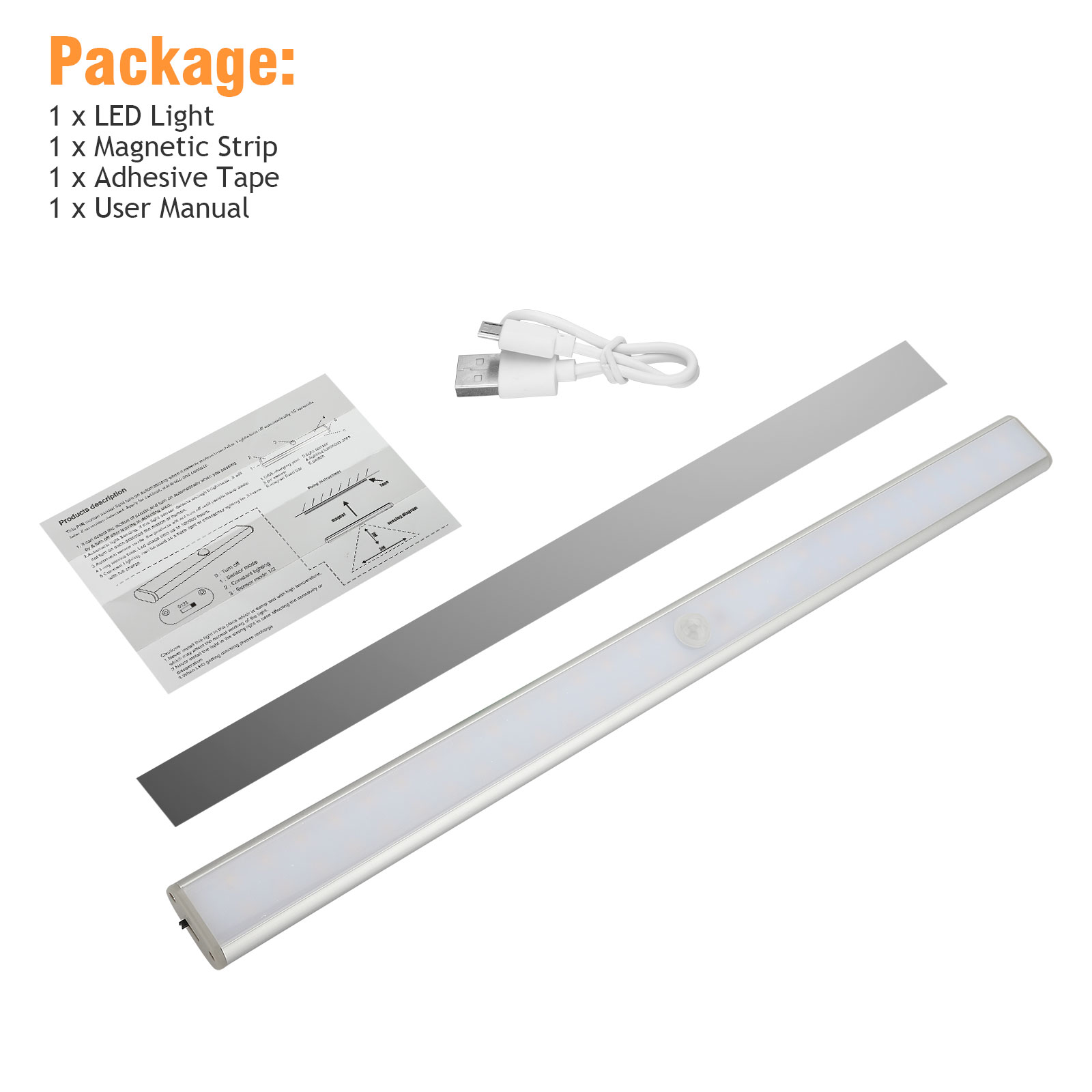 60-LED-USB-Rechargeable-Motion-Sensor-Closet-Lights-Wireless-Under-Cabinet-Light thumbnail 9