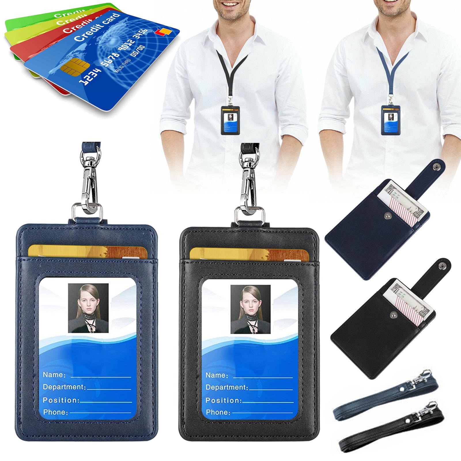 ID Badge Card Holder Vertical Clip Neck Strap Lanyard Neckla