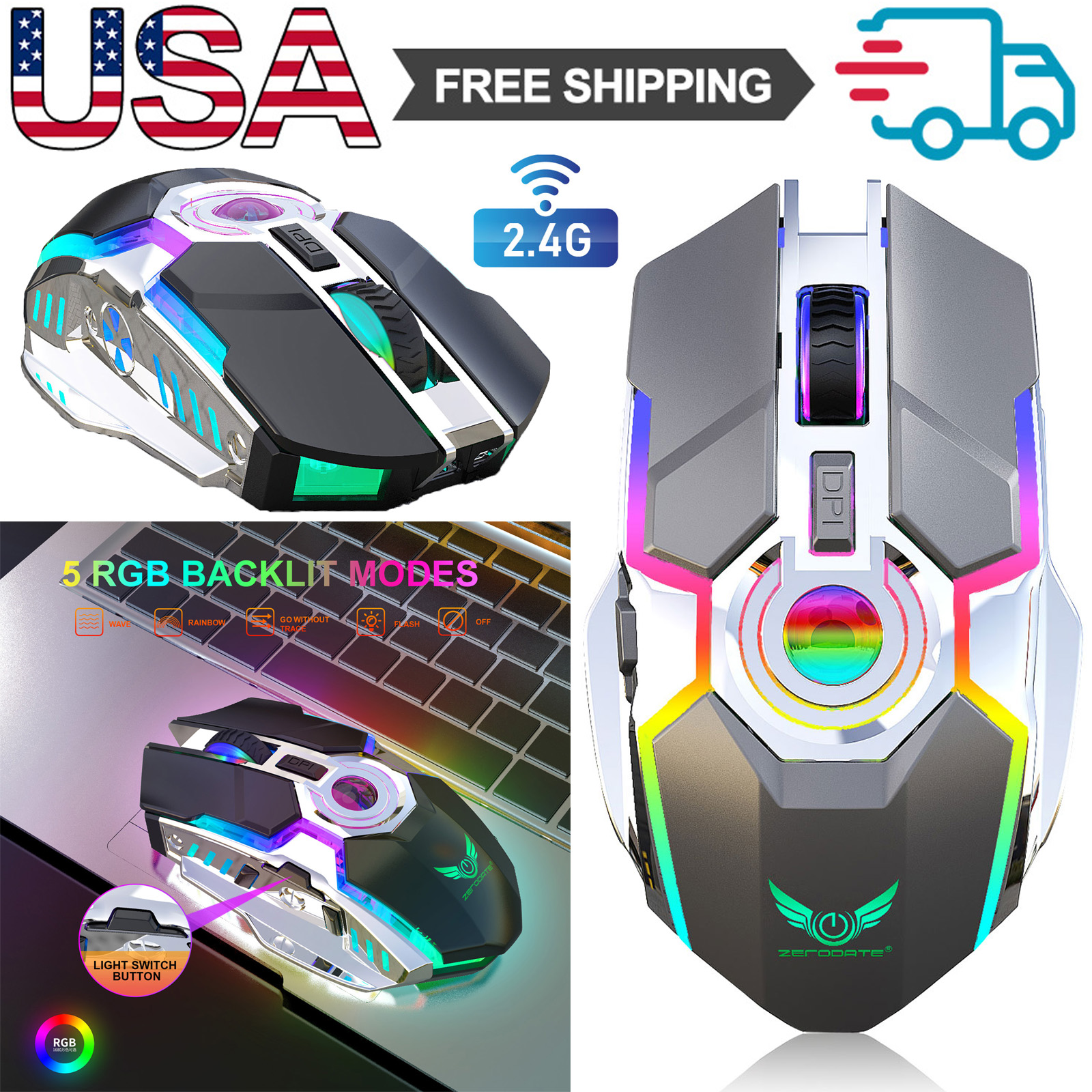 Wireless Gaming Mouse RGB Colors Backlit Mice+USB Receiver f