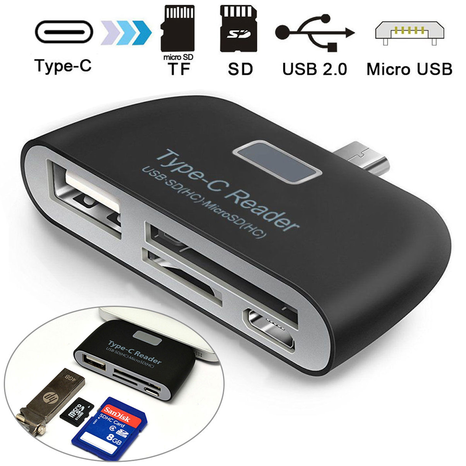 4-in-1-Type-C-Card-Reader-USB-TF-SD-OTG-HUB-Adapter-For-Samsung-S8-LG-G6-Macbook